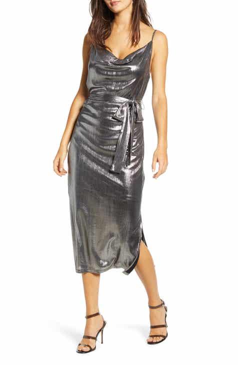 Endless Rose Cowl Neck Belted Metallic Dress