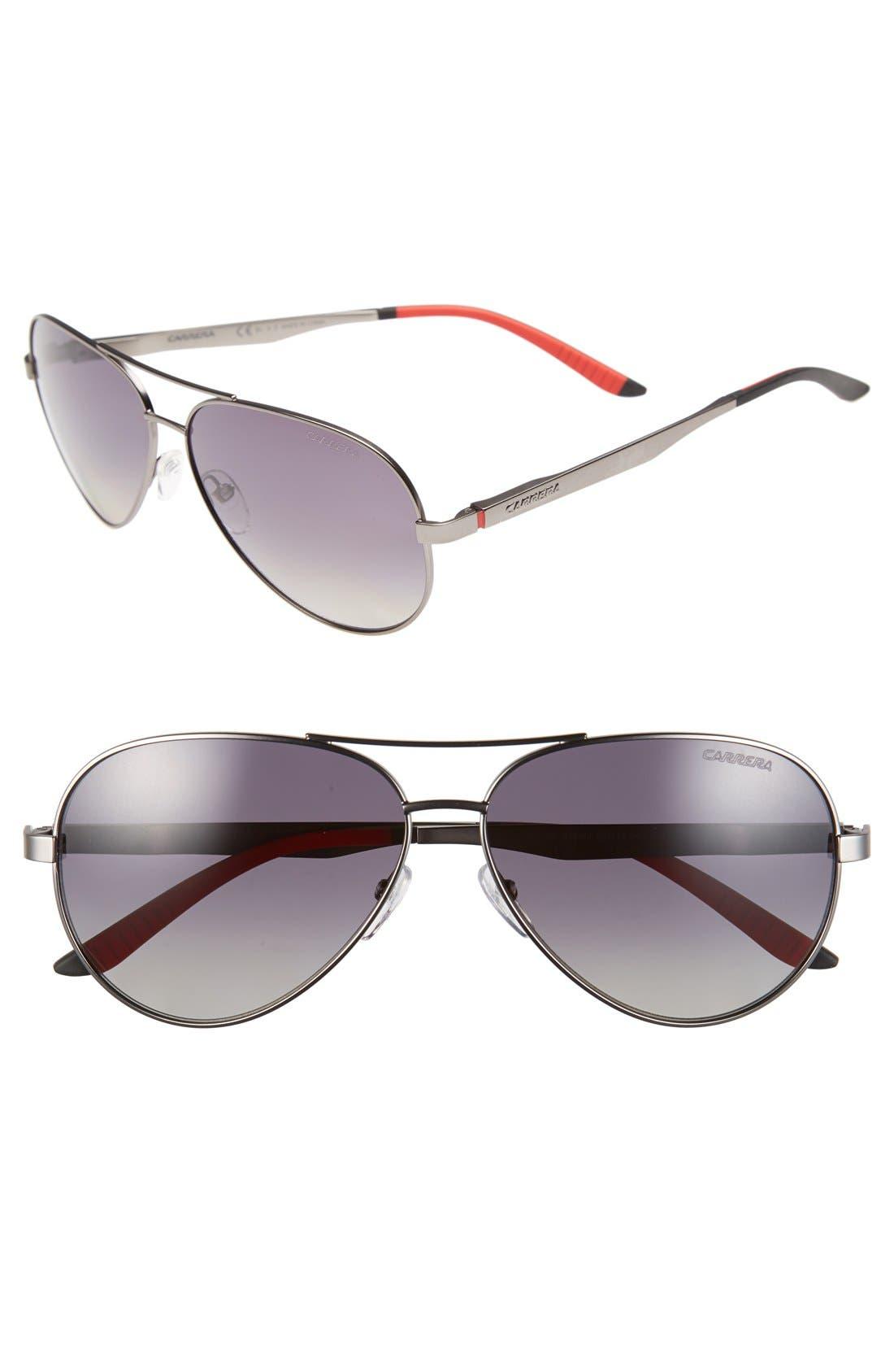 59mm Metal Aviator Sunglasses,                         Main,                         color, Ruthenium/ Grey Gradient