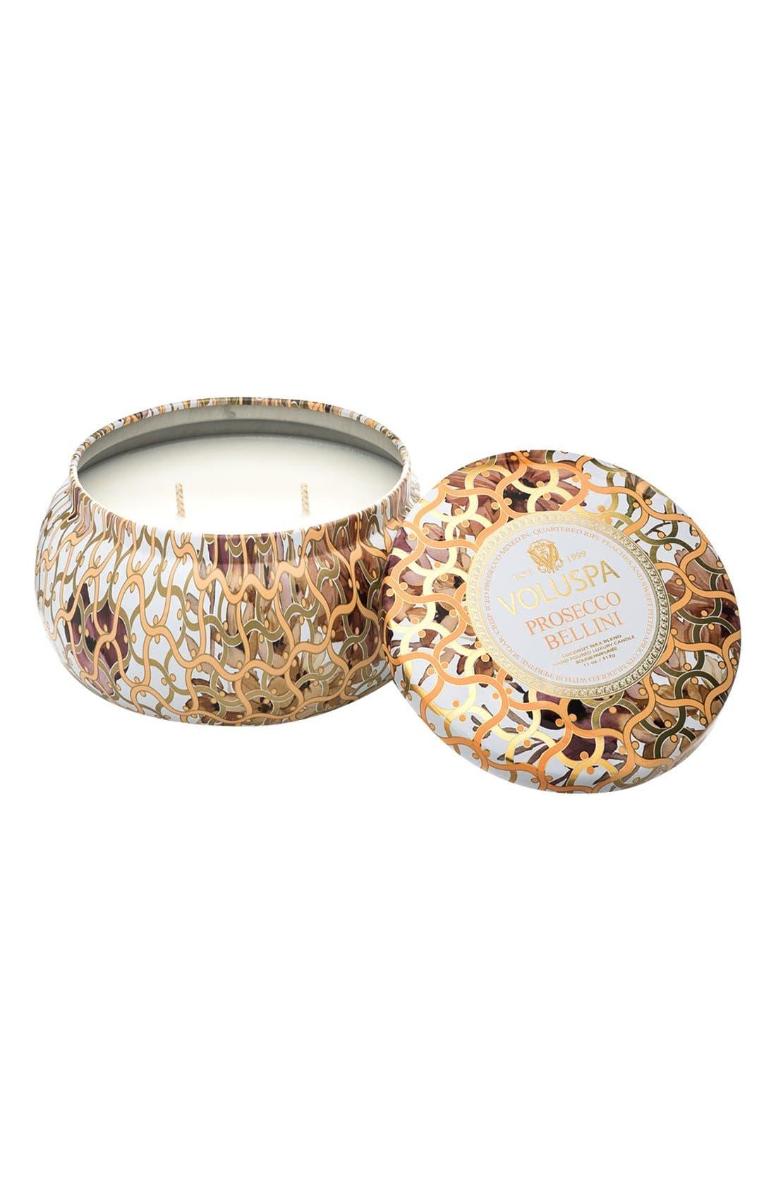 Maison Blanc Prosecco Bellini Maison Metallo 2-Wick Candle,                         Main,                         color, Prosecco Bellini