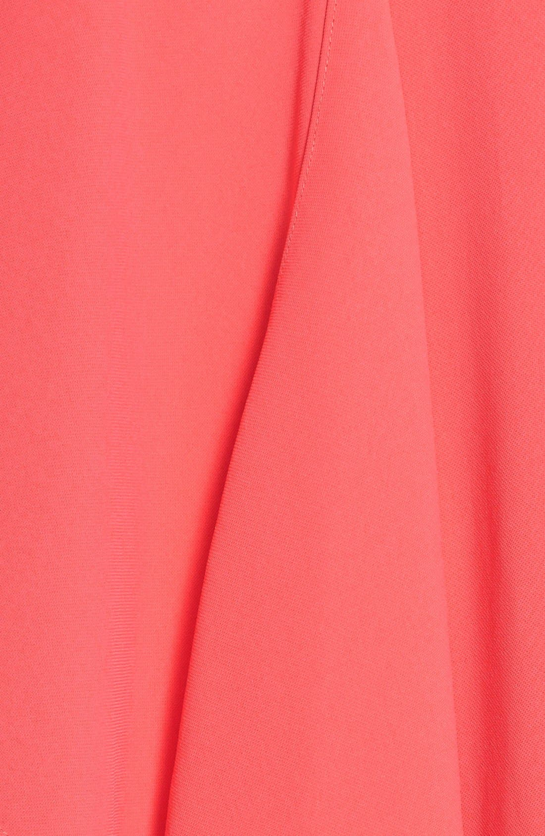 Ruffle Front Crepe High/Low Dress,                             Alternate thumbnail 4, color,                             Grapefruit