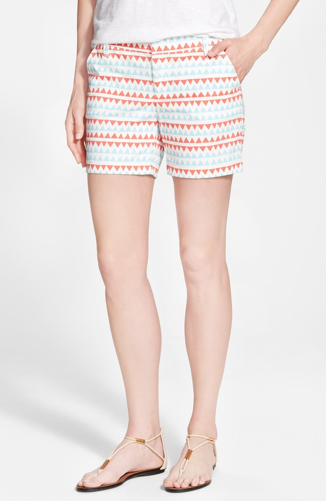 Clean Front Shorts,                             Main thumbnail 1, color,                             Ivory Cloud- Coral Stripe
