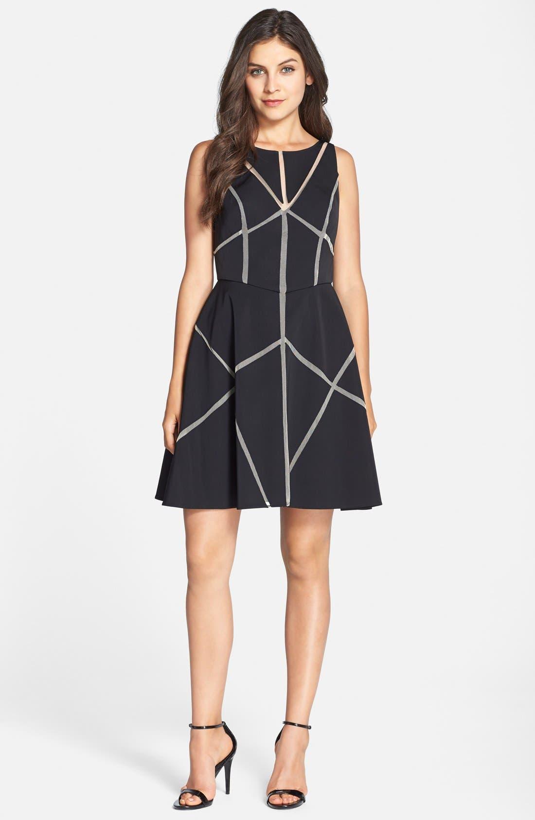 Alternate Image 4  - Aidan Mattox Cutout Satin Fit & Flare Dress