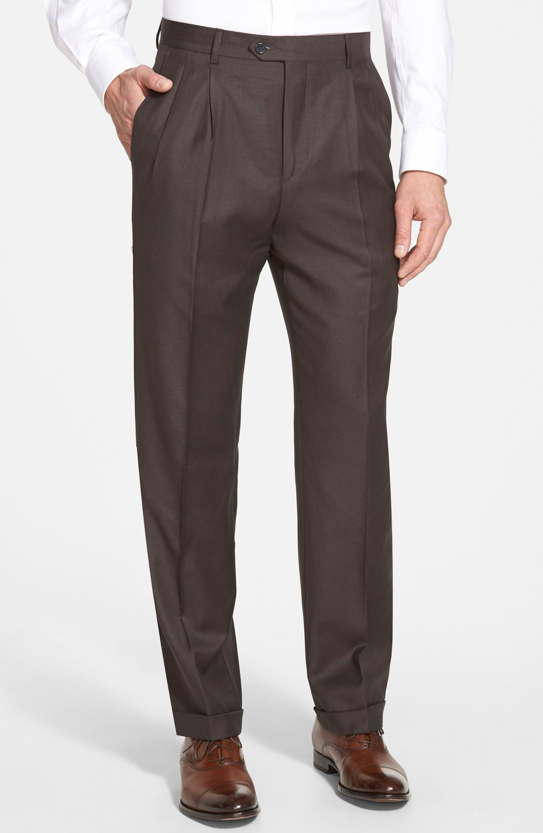 Main Image - Santorelli 'Luxury Serge' Double Pleated Wool Trousers
