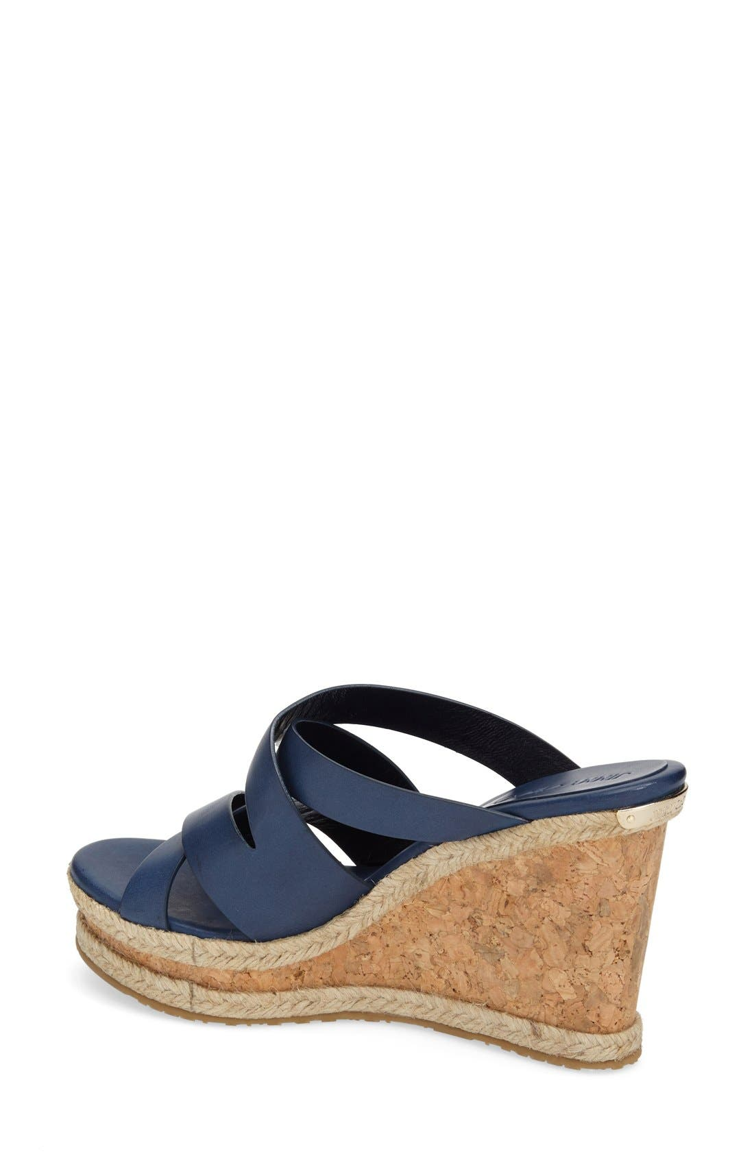 'Prisma' Leather Wedge Sandal,                             Alternate thumbnail 2, color,                             Navy