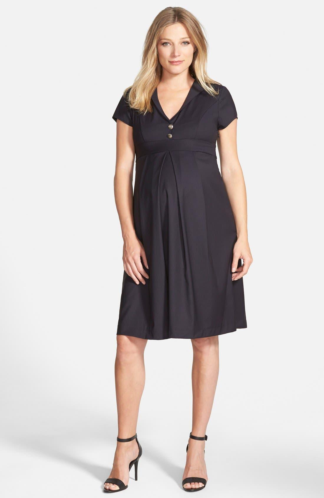 London 'Audrey' Maternity Dress,                             Main thumbnail 1, color,                             Navy