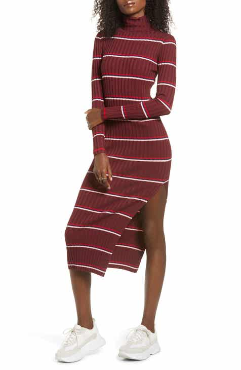 Lira Clothing Lola Long Sleeve Stripe Turtleneck Sweater Dress