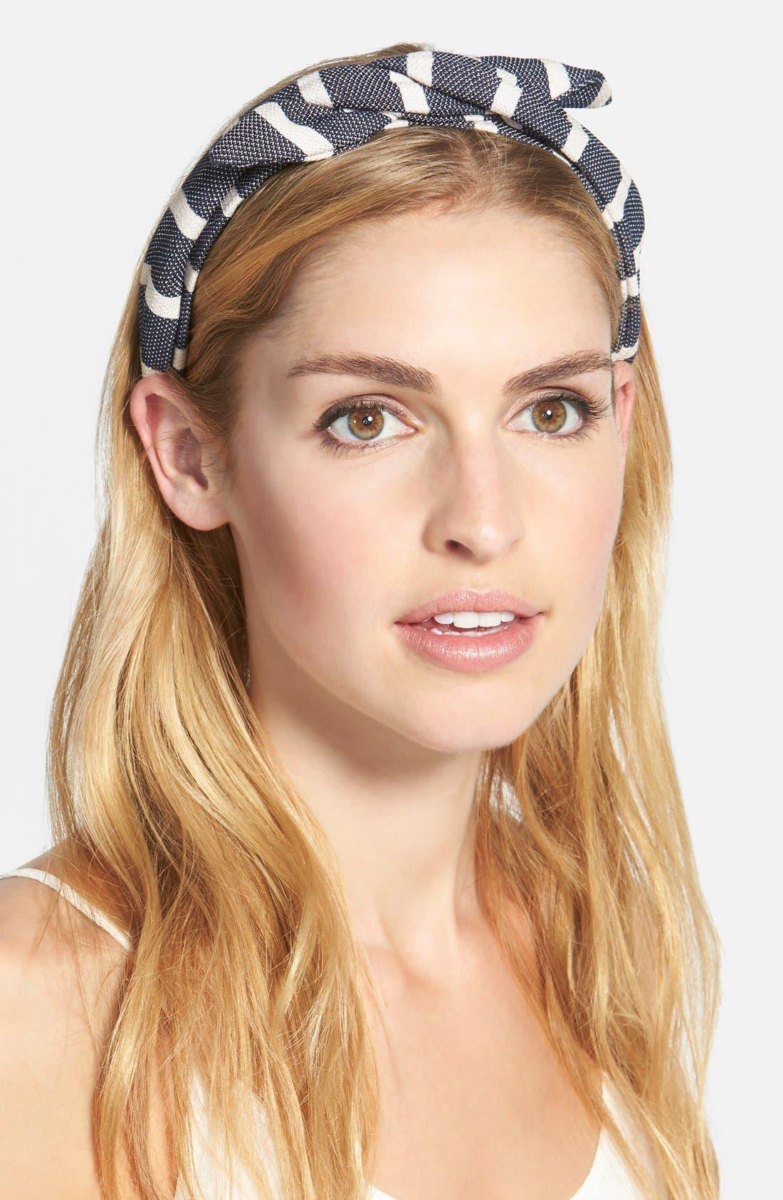 Main Image - Cara Stripe Bow Headband