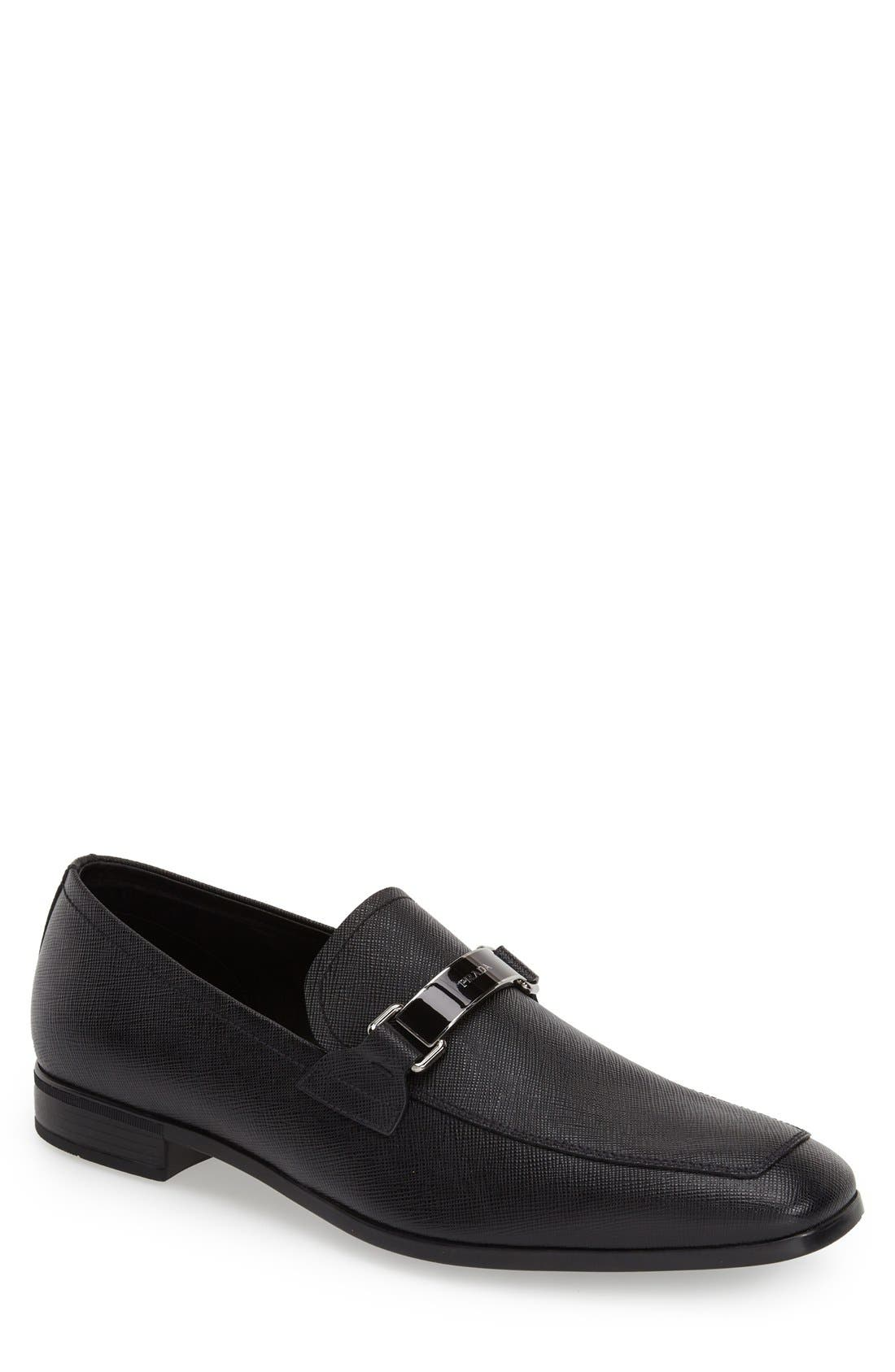 Saffiano Leather Bit Loafer,                             Main thumbnail 1, color,                             Nero Leather