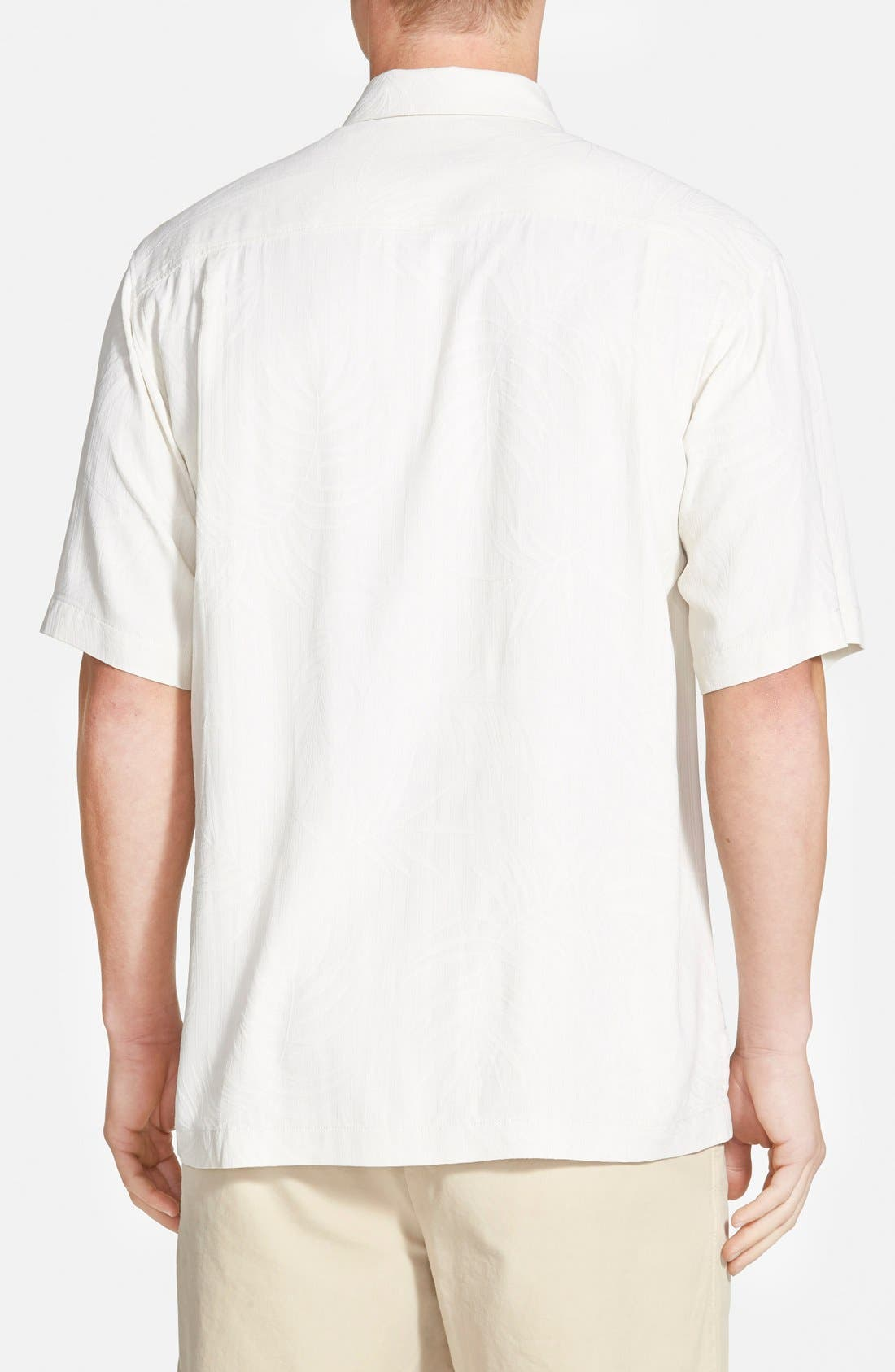 'Tiki Palms' Original Fit Jacquard Silk Camp Shirt,                             Alternate thumbnail 2, color,                             Coconut