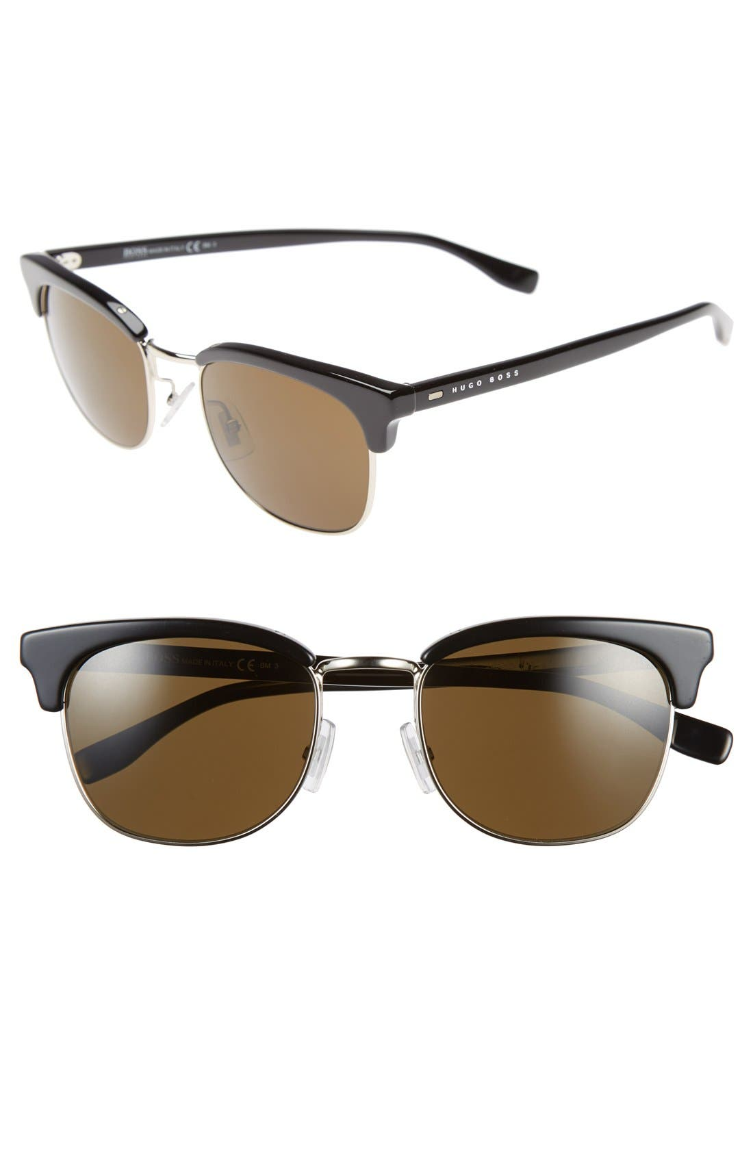 52mm Retro Sunglasses,                         Main,                         color, Black/ Pale Gold/ Brown