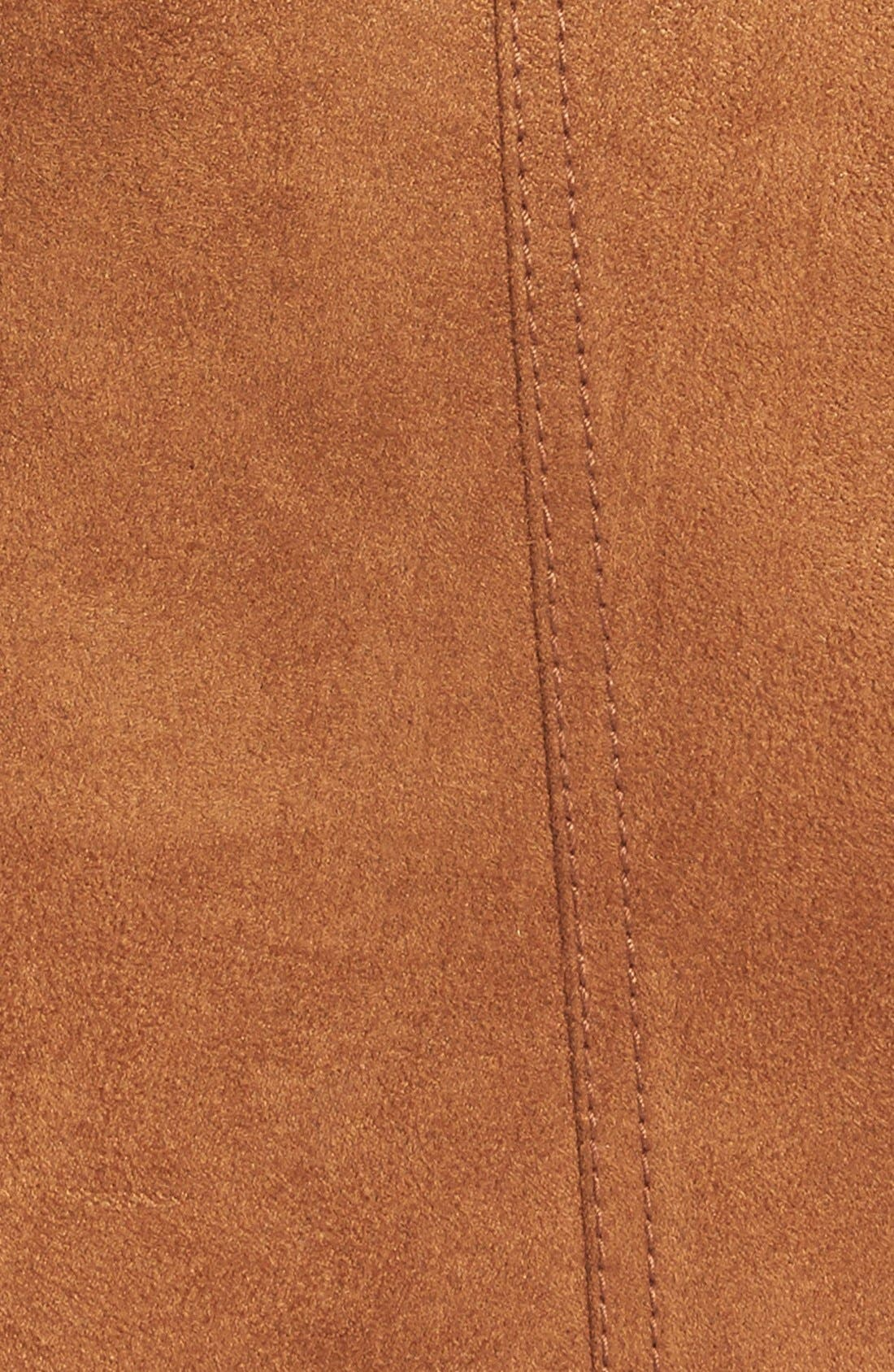 Faux Suede A-Line Miniskirt,                             Alternate thumbnail 4, color,                             Brown Toffee