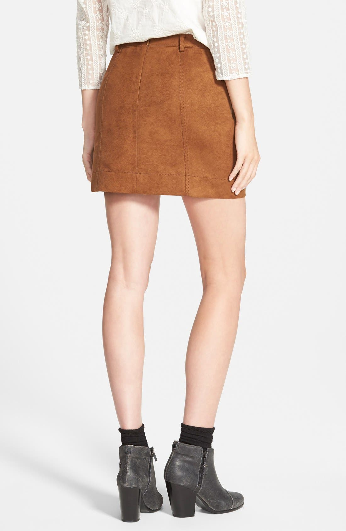 Faux Suede A-Line Miniskirt,                             Alternate thumbnail 3, color,                             Brown Toffee