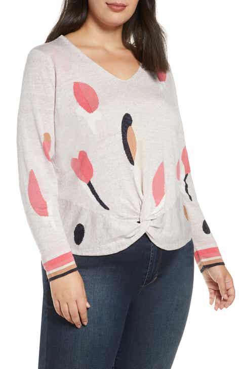 NIC+ZOE Rose Garden Twist Linen Blend Sweater (Plus Size)