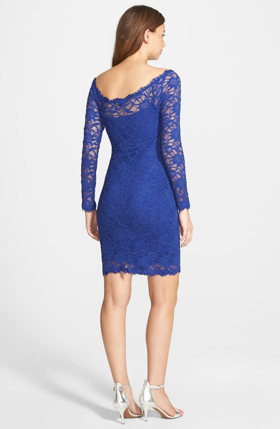 Alternate Image 2  - Jump Apparel Long Sleeve Lace Body-Con Dress