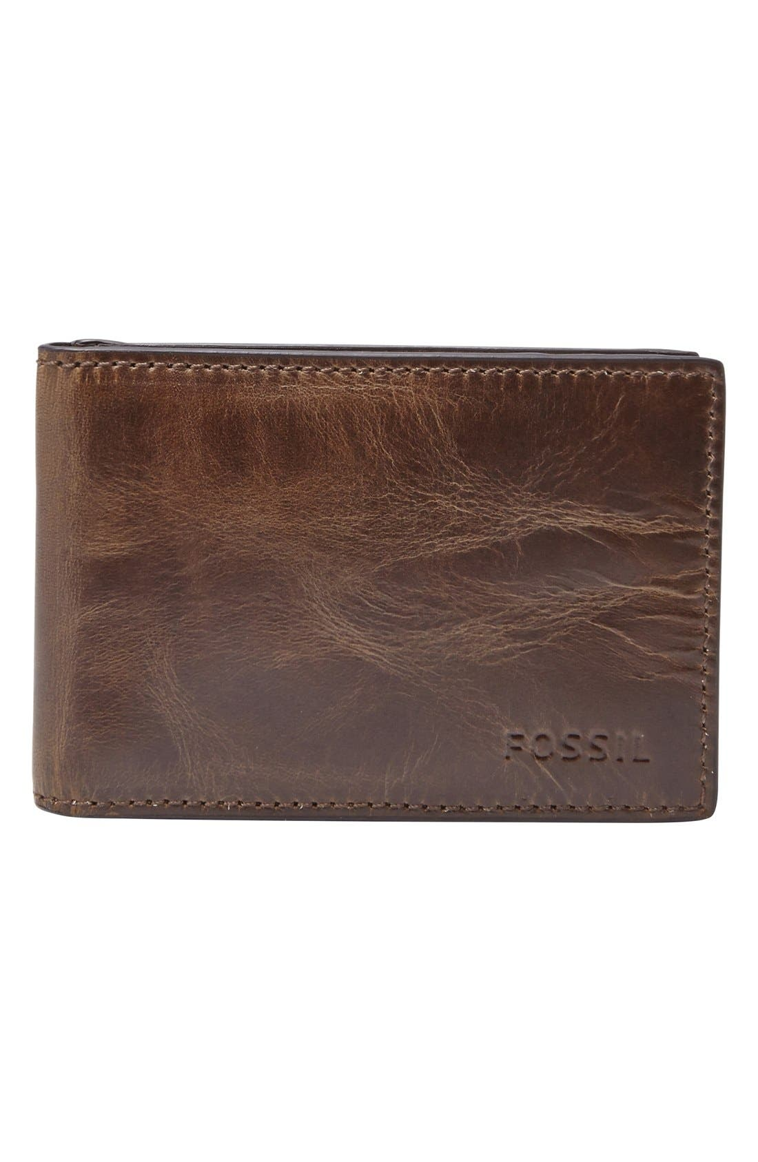 Main Image - Fossil Derrick Leather Money Clip Bifold Wallet