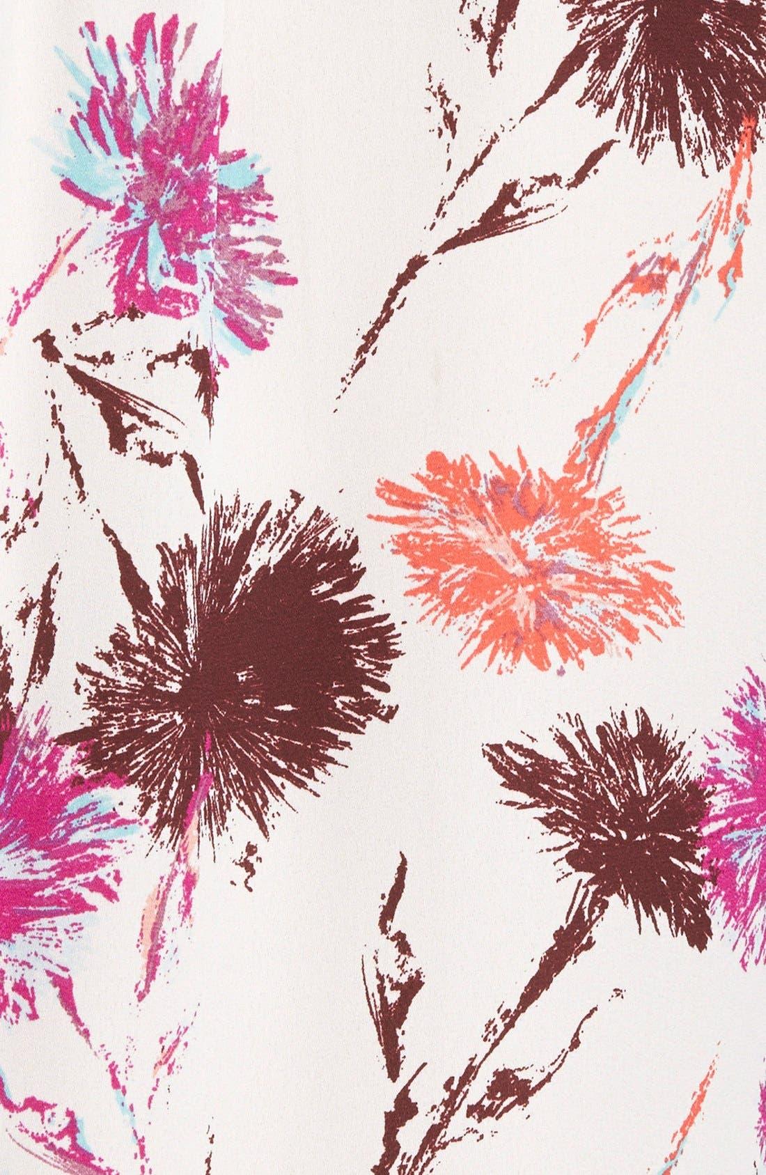 Scarf Tie Blouse,                             Alternate thumbnail 3, color,                             Ivory- Purple Lavish Print