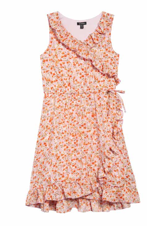 Zunie Faux Wrap Floral Dress (Big Girls)