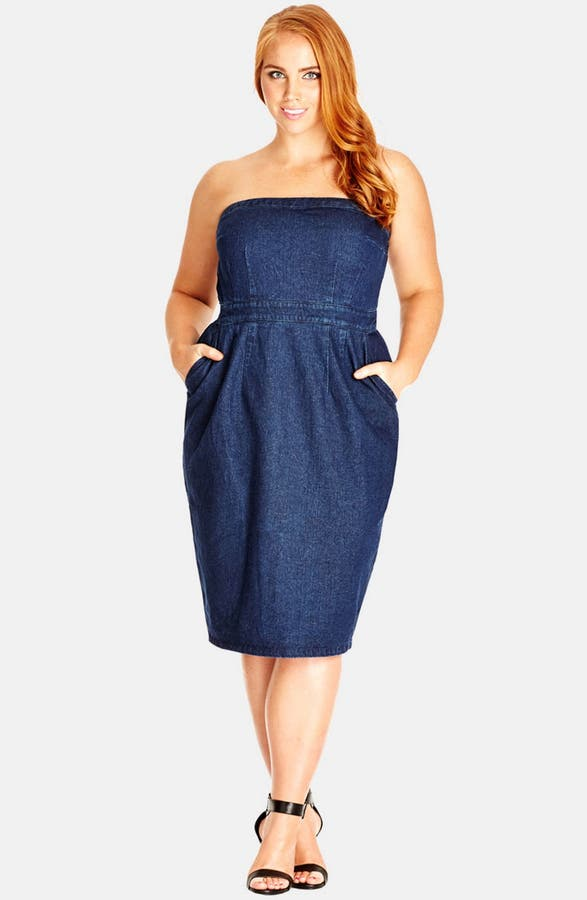 City Chic Strapless Denim Dress Plus Size Nordstrom