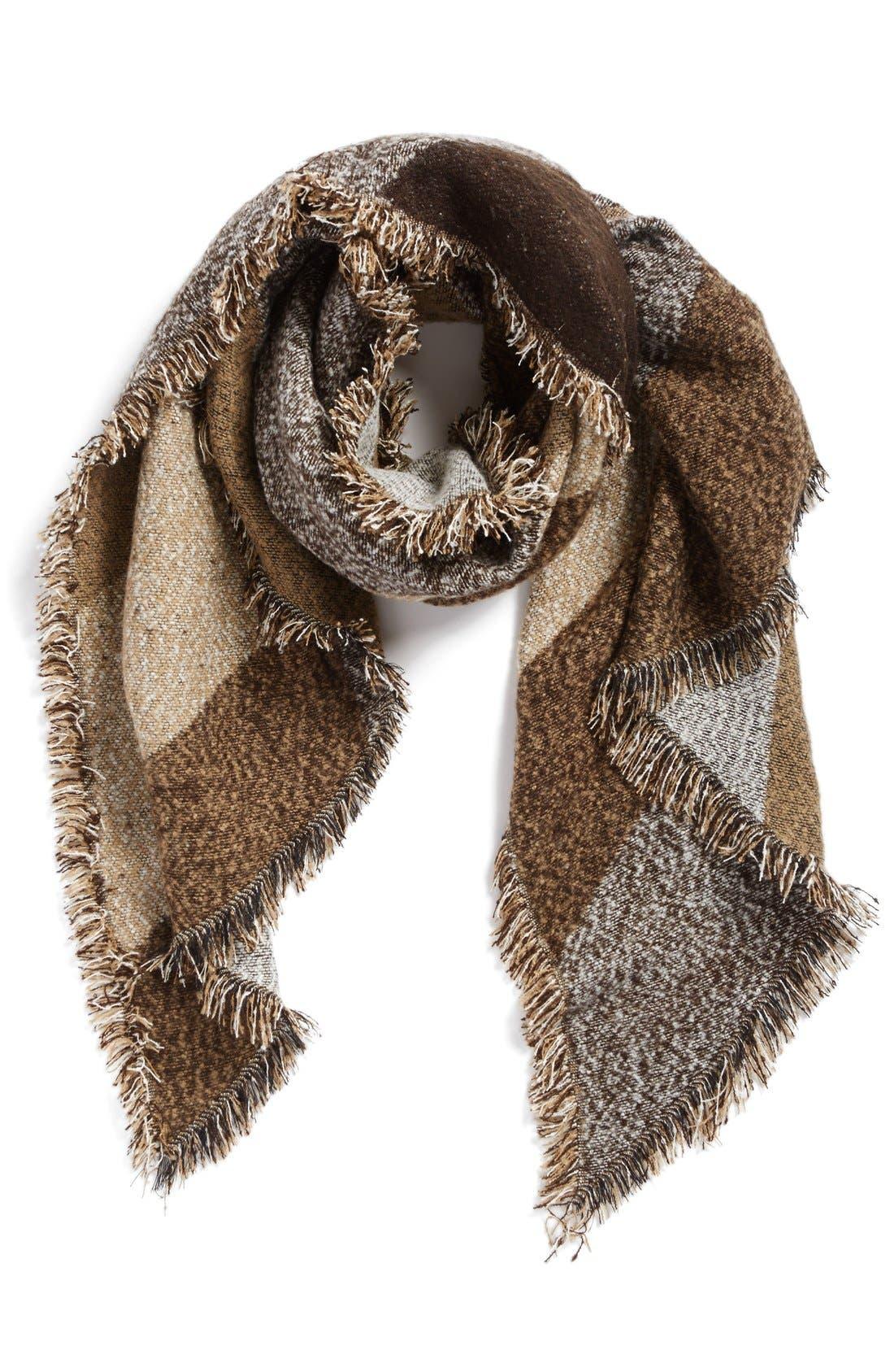 Blanket Scarf,                             Main thumbnail 1, color,                             Brown