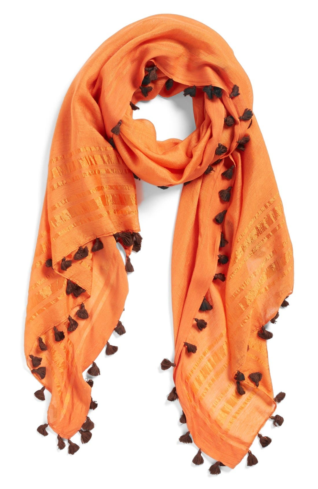 Tassel Scarf,                             Main thumbnail 1, color,                             Orange