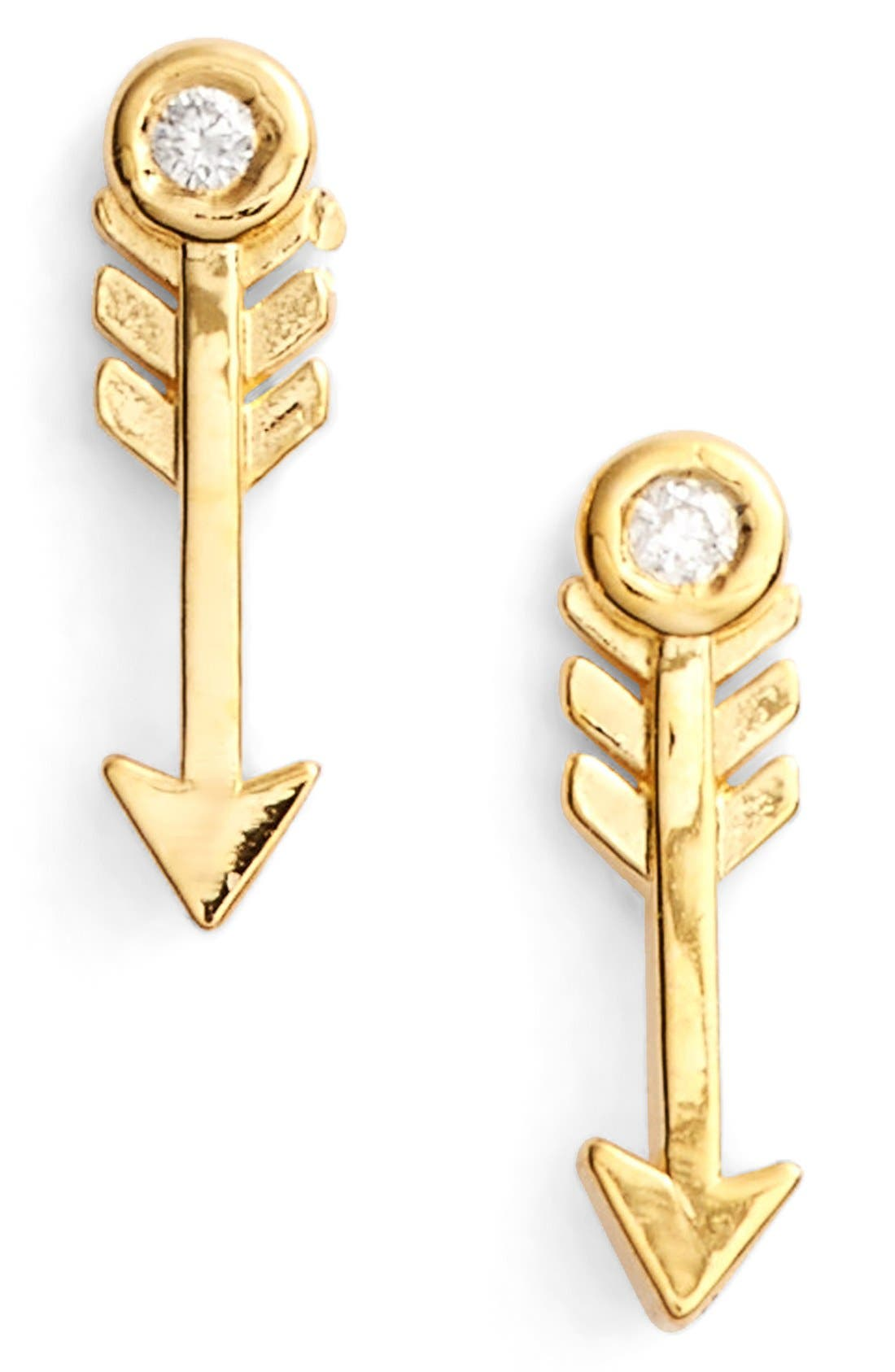 Diamond Arrow Stud Earrings,                             Main thumbnail 1, color,                             Gold
