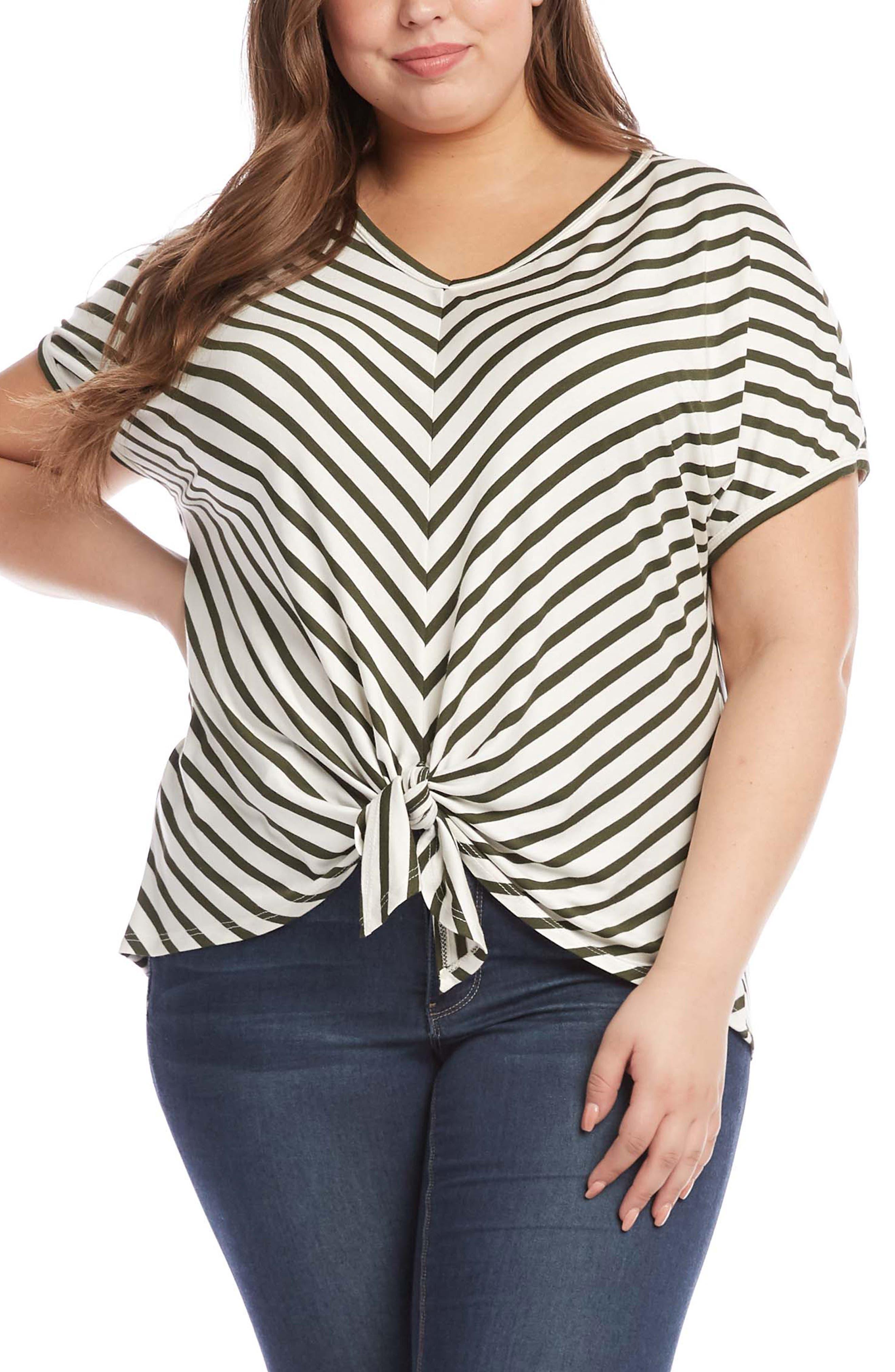 Karen Kane New Women/'s Plus Size Heather Gray Side Tie Top Sizes 0X 1X 2X 3X