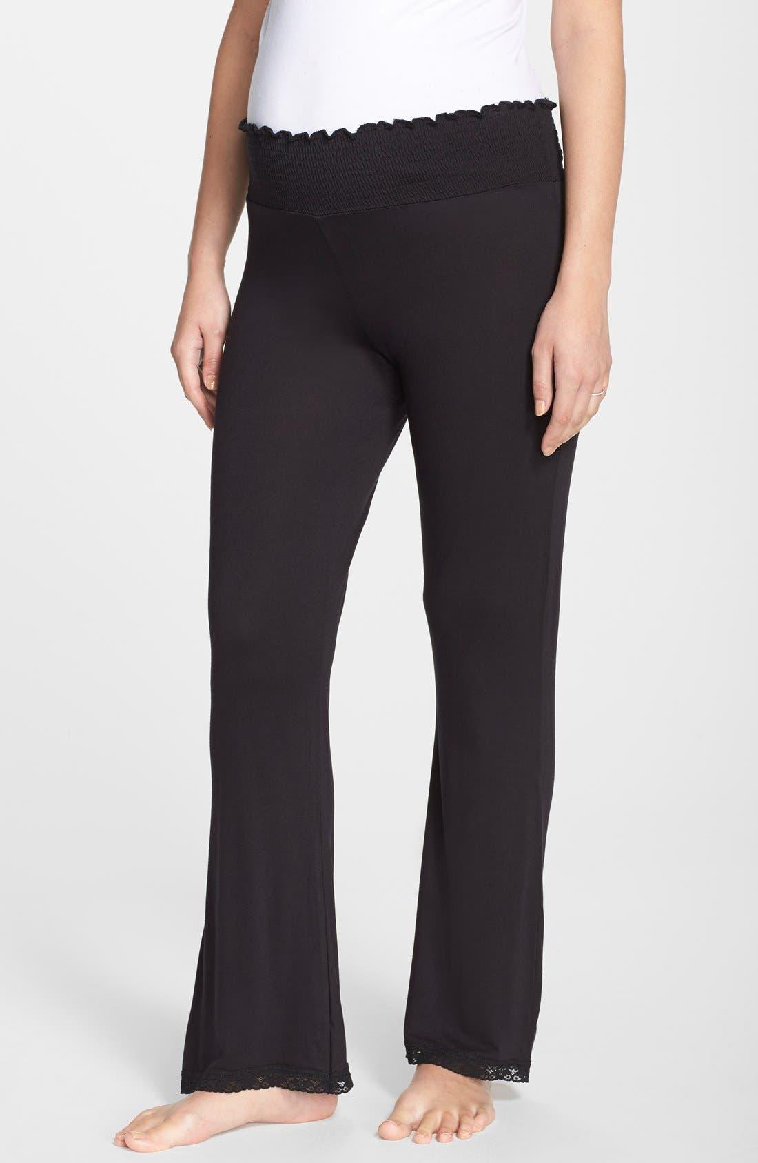 Lace Trim Maternity Lounge Pants,                         Main,                         color, Black