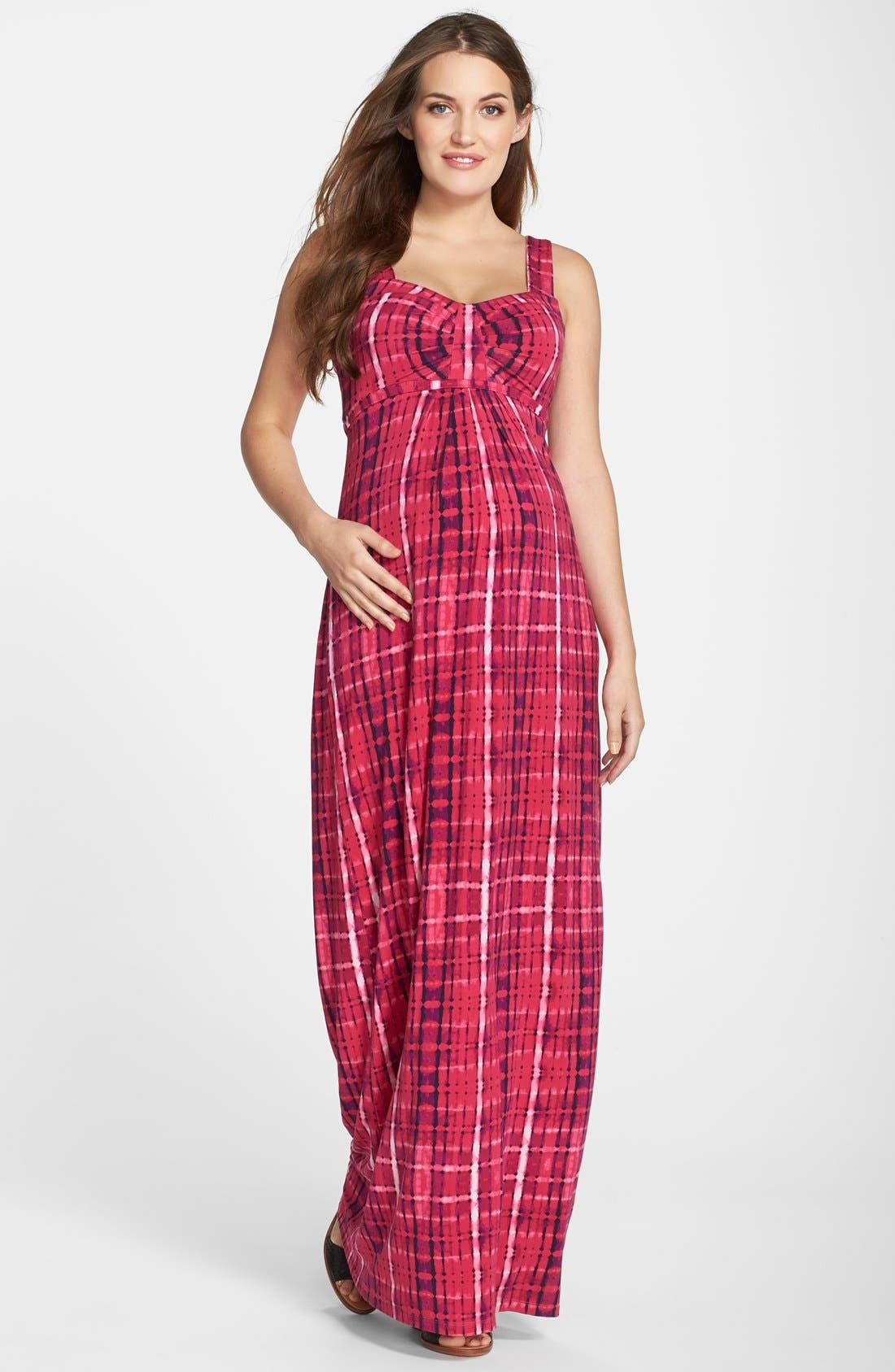 'Lynelle' Maternity Maxi Dress,                         Main,                         color, Vivid Tie Dye Wave