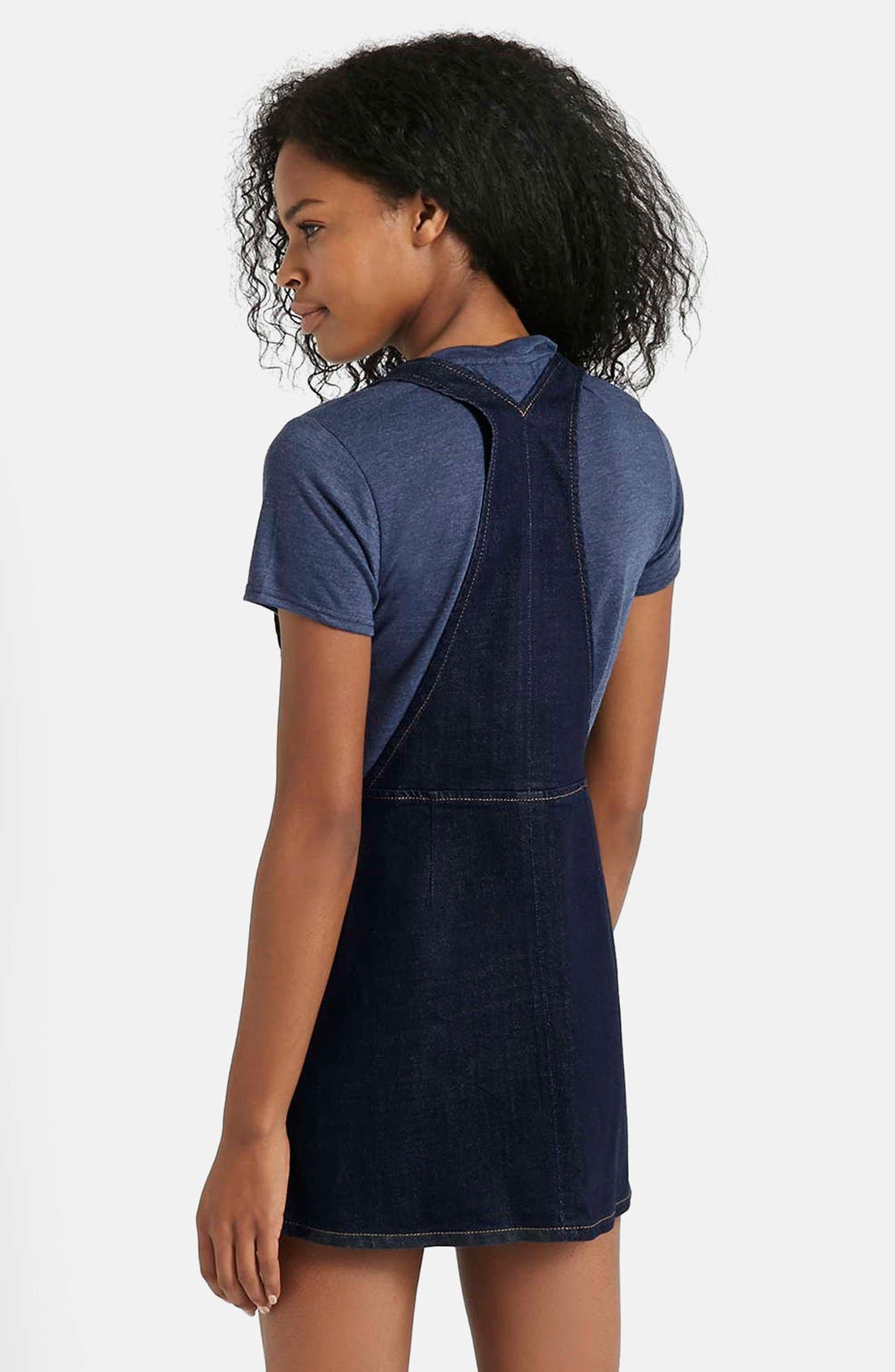 Alternate Image 2  - Topshop Moto Denim Pinafore Dress (Petite)