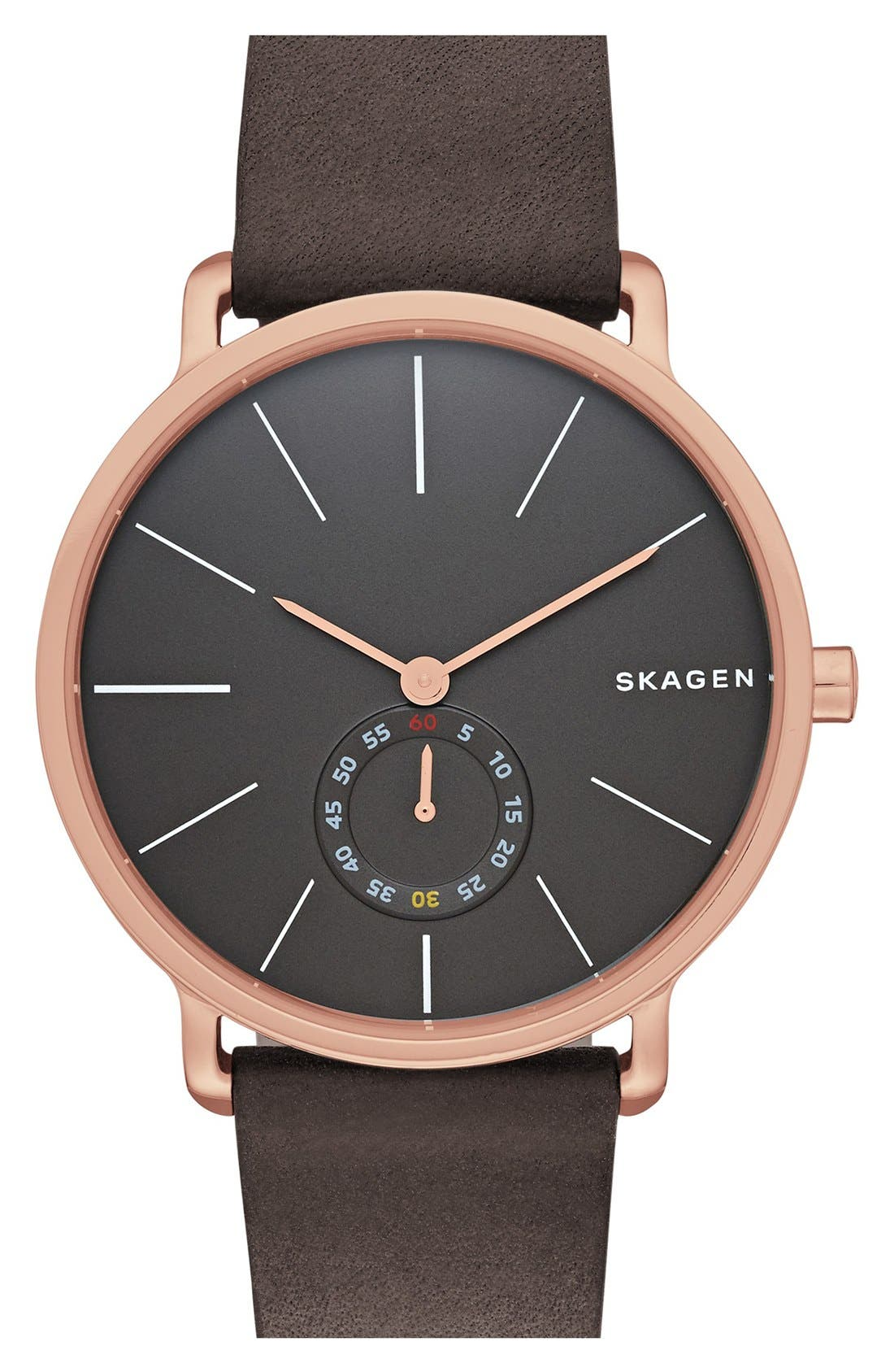 Alternate Image 1 Selected - Skagen Hagen Leather Strap Watch, 40mm