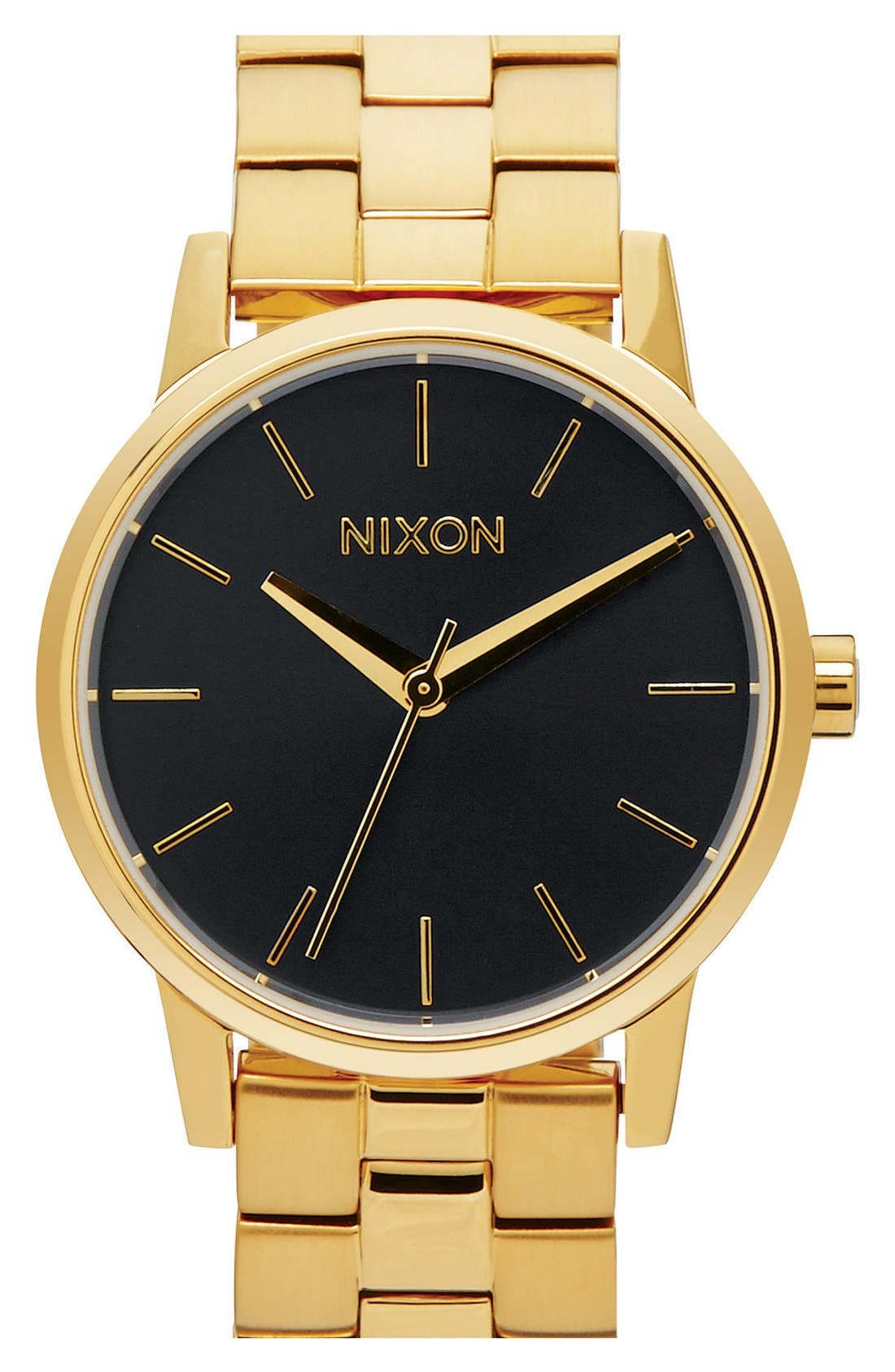'Kensington' Bracelet Watch, 32mm,                         Main,                         color, Gold/ Black Sunray