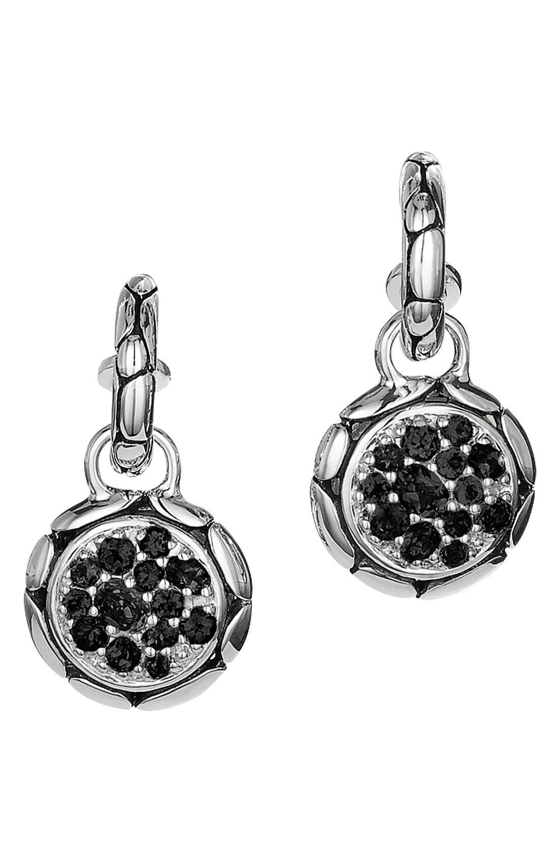 'Kali' Black Sapphire Drop Earrings,                             Main thumbnail 1, color,                             Silver/ Black Sapphire