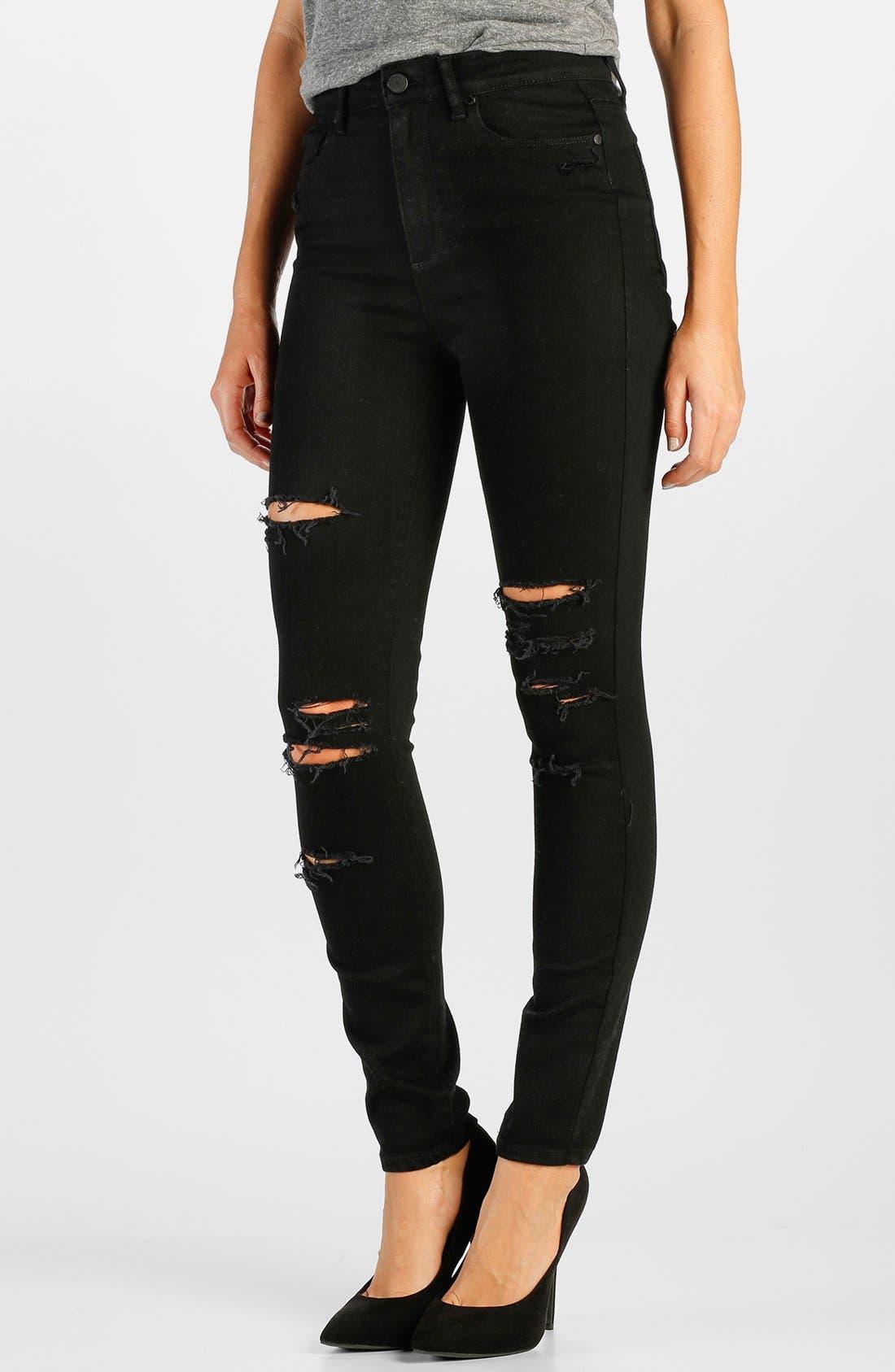 Alternate Image 1 Selected - Paige Denim 'Margot' High Rise Skinny Jeans (Black Arlo Destructed)