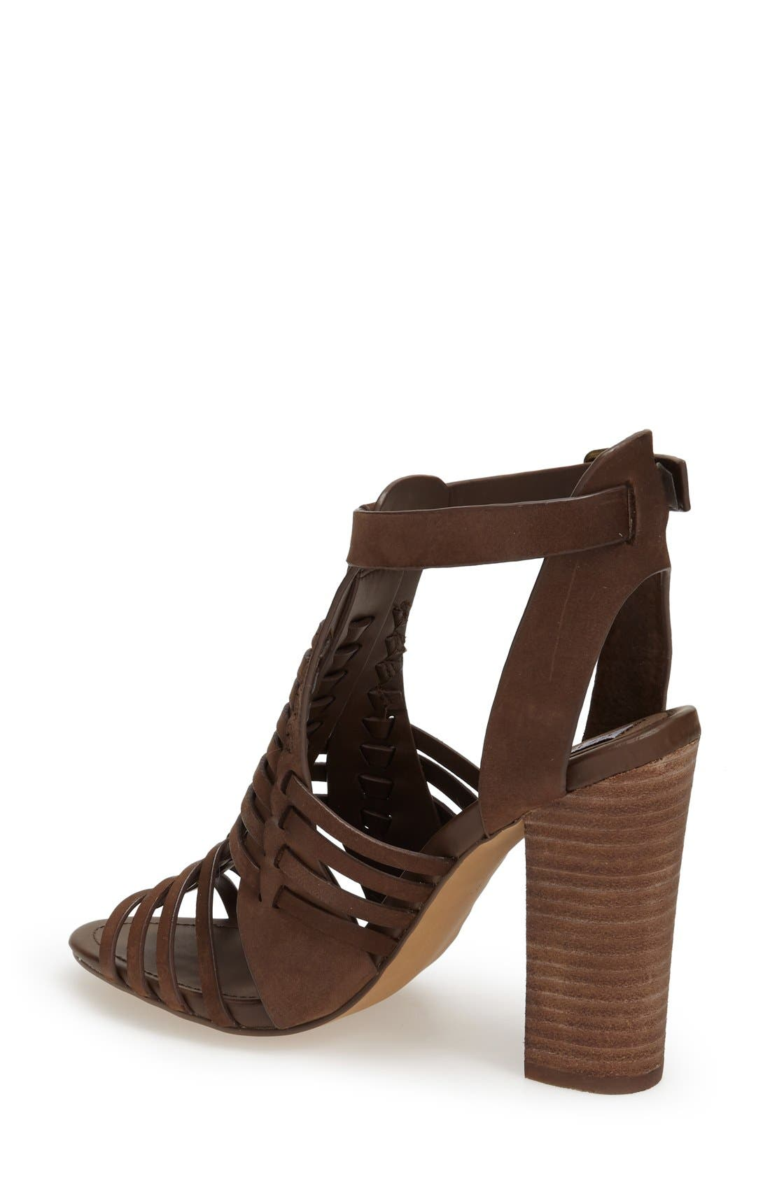 'Sandrina' Huarache Sandal,                             Alternate thumbnail 2, color,                             Brown Leather