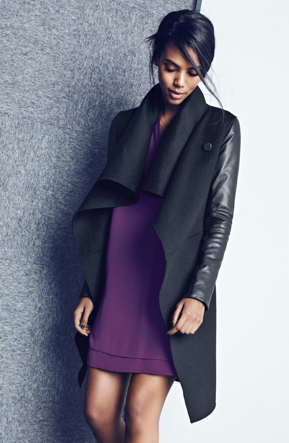 Wool Blend Coat with Leather Sleeves,                             Alternate thumbnail 2, color,