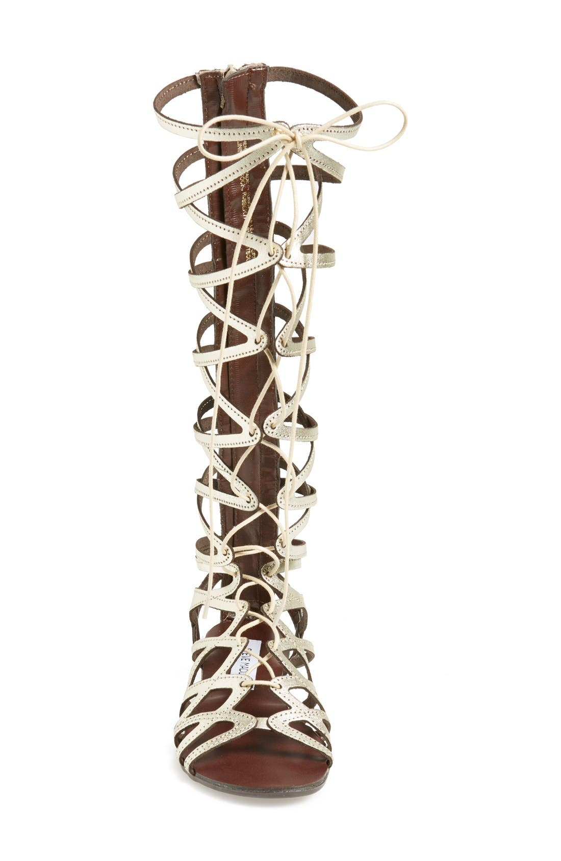 'Hercules' Gladiator Sandal,                             Alternate thumbnail 3, color,                             Metallic Gold Leather