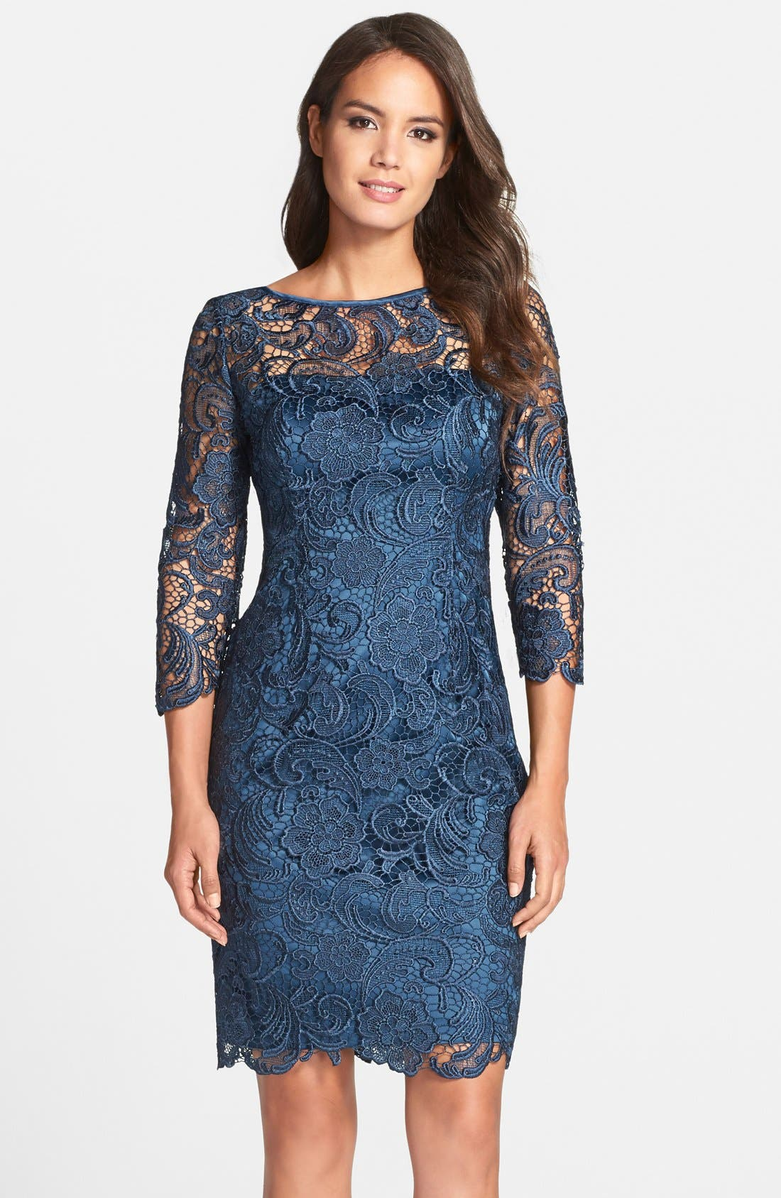 Alternate Image 1 Selected - Adrianna Papell Illusion Yoke Guipure Lace Sheath Dress