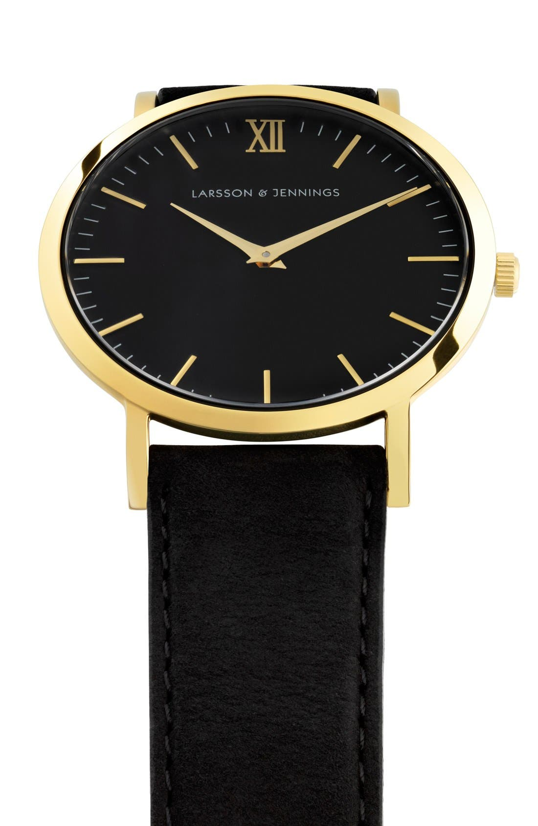 'Lugano' Leather Strap Watch, 40mm,                             Alternate thumbnail 5, color,                             Black/ Gold