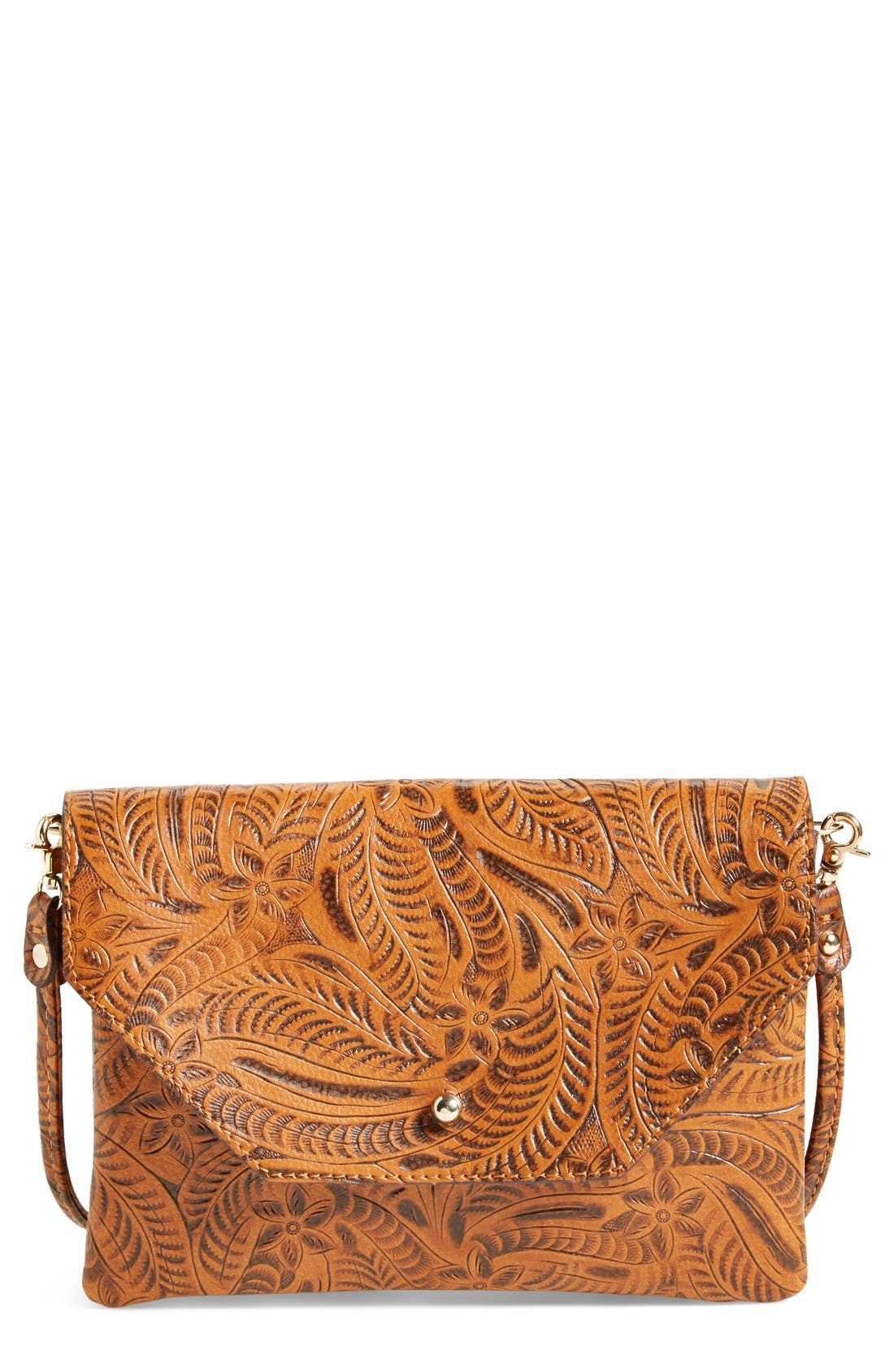 Tooled Crossbody,                         Main,                         color, Brown