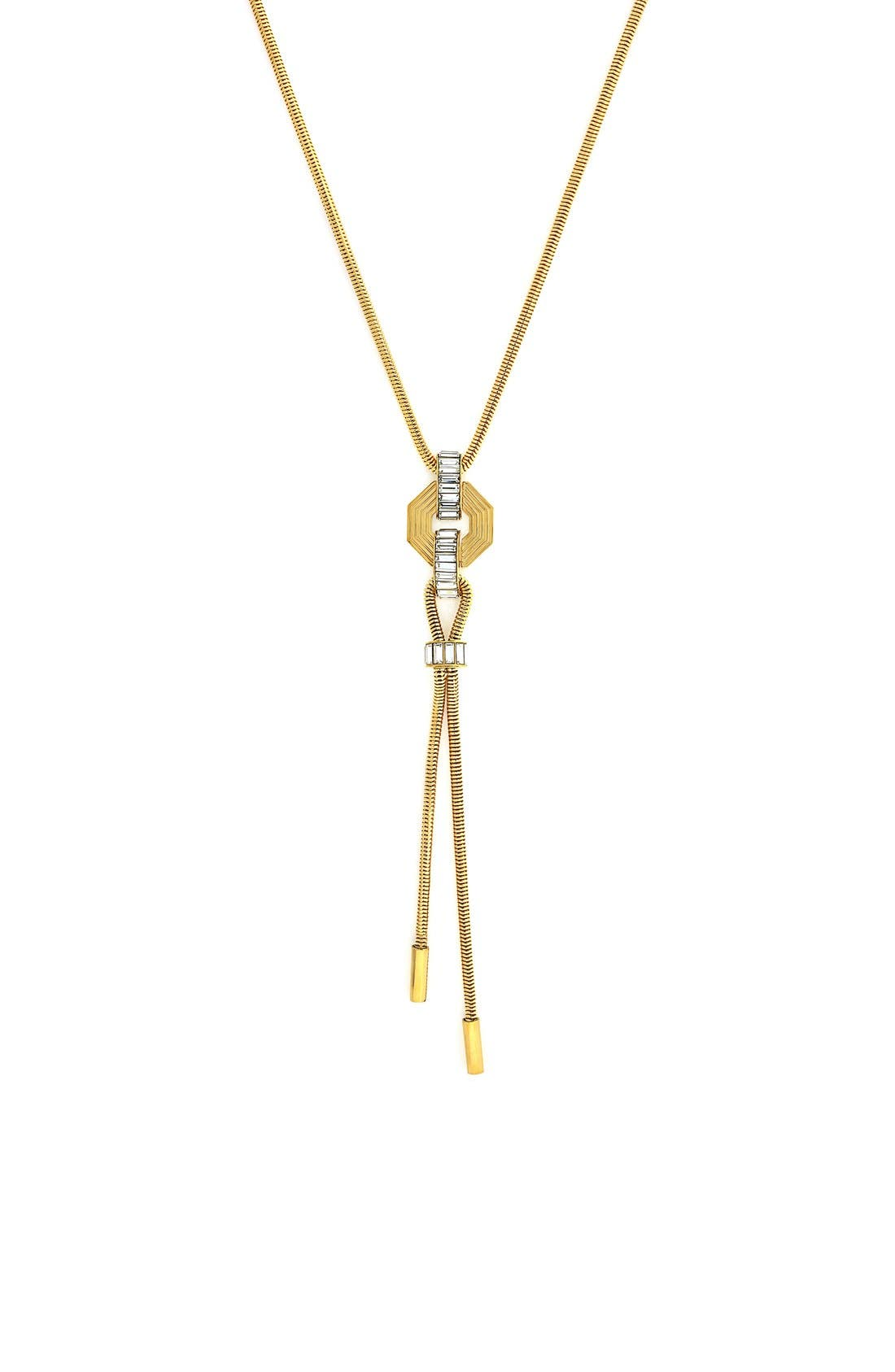 Baguette Y-Necklace,                         Main,                         color, Gold/ Crystal