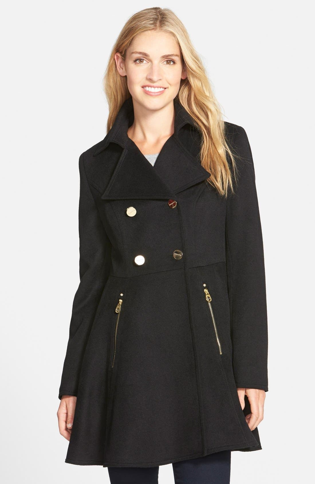 Laundry by Shelli Segal Double Breasted Fit & Flare Coat,                             Main thumbnail 1, color,                             Black