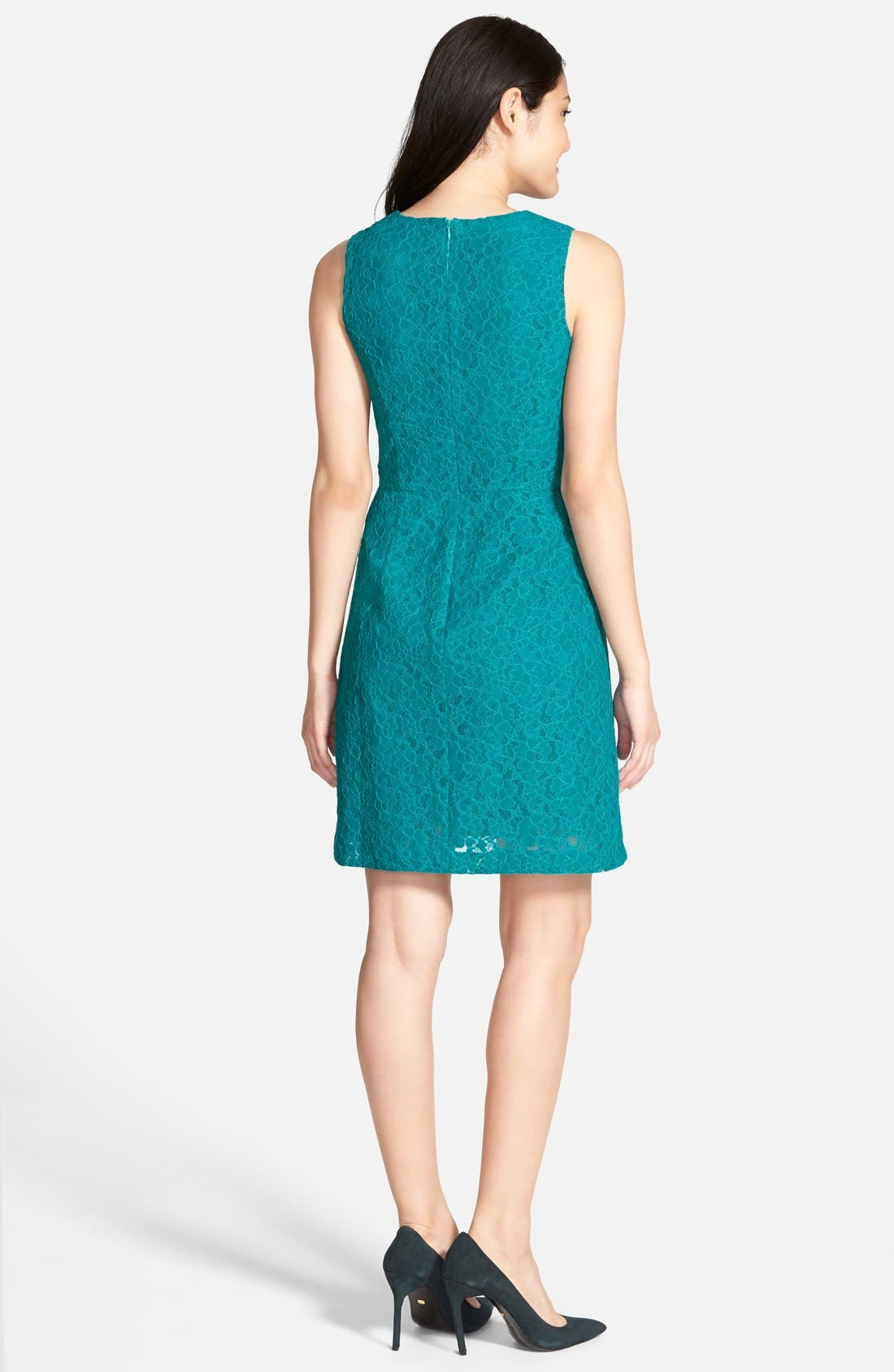 Alternate Image 2  - Halogen® Lace Fit & Flare Dress (Regular & Petite)