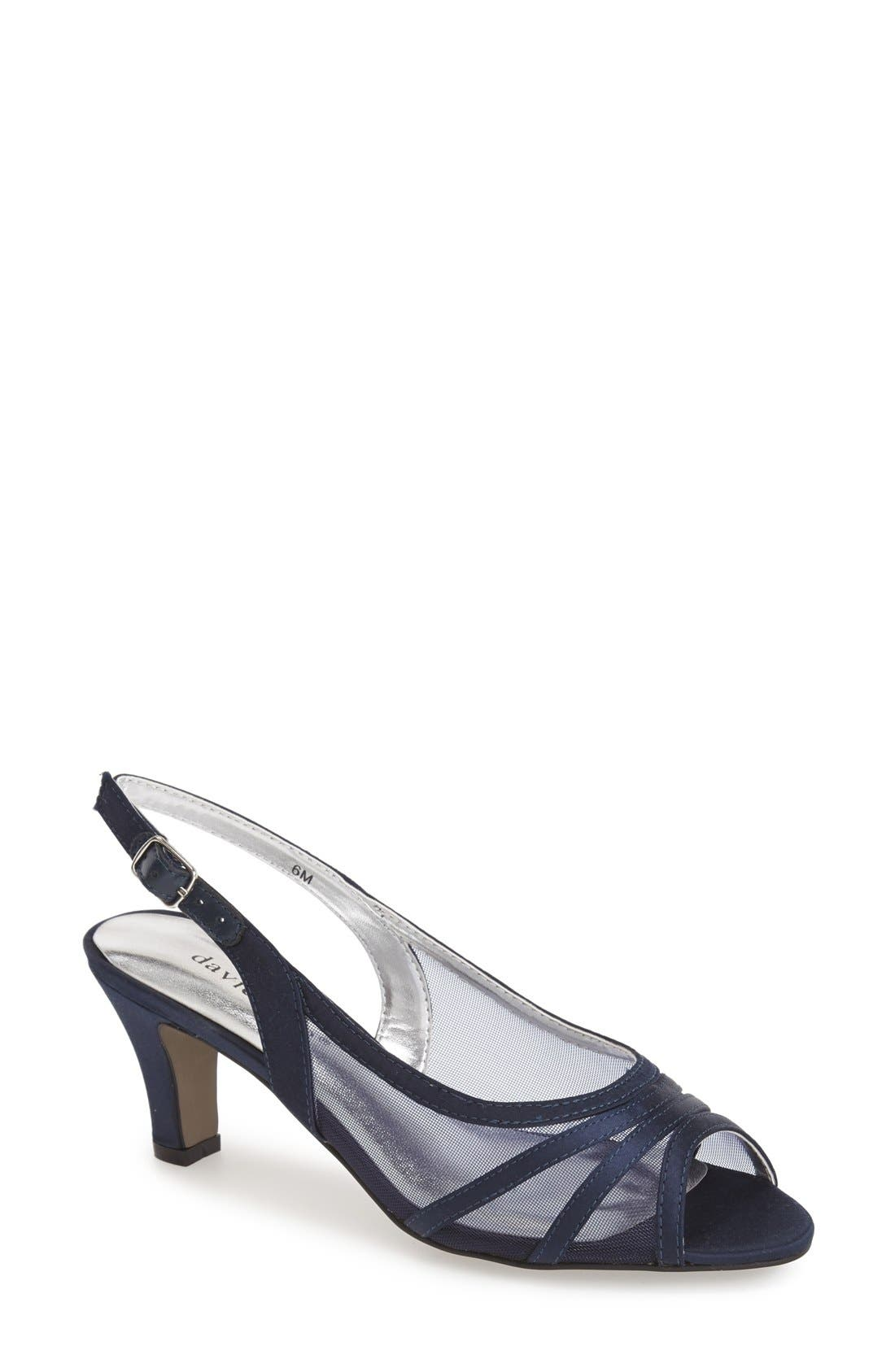 'Petal' Open Toe Slingback Pump,                             Main thumbnail 1, color,                             Navy Fabric