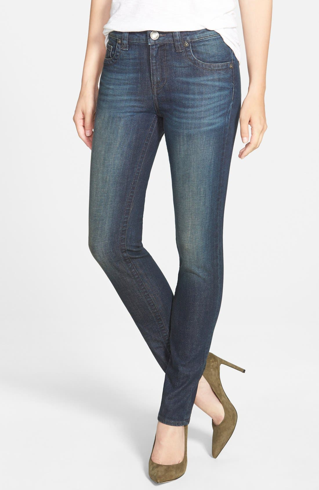 'Stevie' Stretch Straight Leg Jeans,                             Main thumbnail 1, color,                             Benevolent