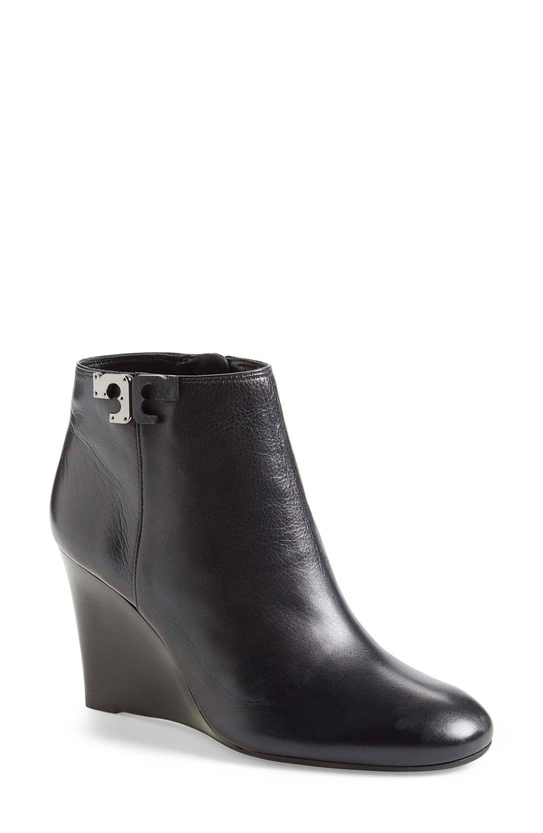 'Lowell' Wedge Bootie,                             Main thumbnail 1, color,                             Black Leather