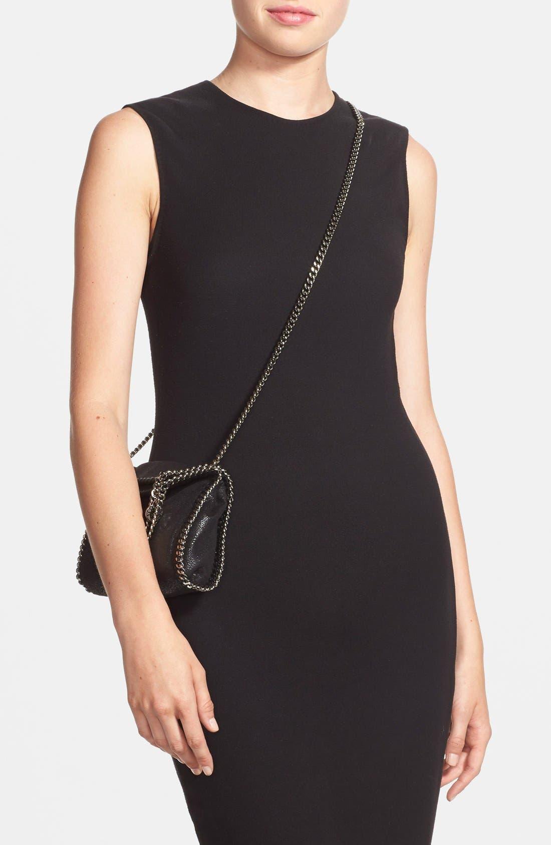 'Tiny Falabella' Faux Leather Crossbody Bag,                             Alternate thumbnail 2, color,                             Black
