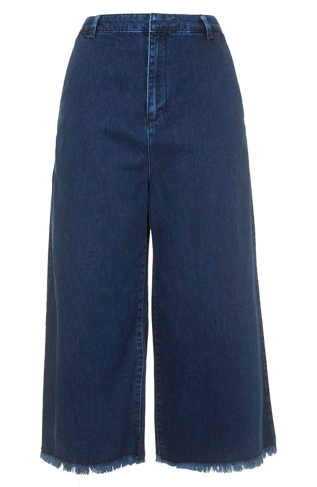 Alternate Image 3  - Topshop Moto Raw Hem Denim Culottes (Navy Blue) (Regular & Short)
