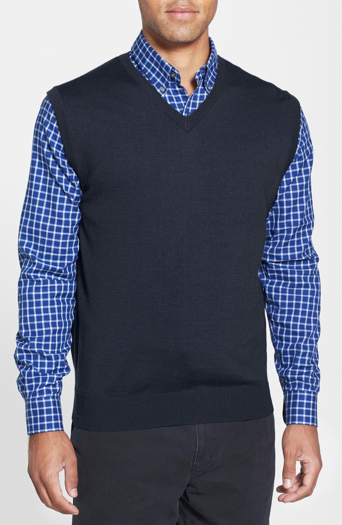 Alternate Image 1 Selected - Cutter & Buck Douglas Merino Wool Blend V-Neck Vest