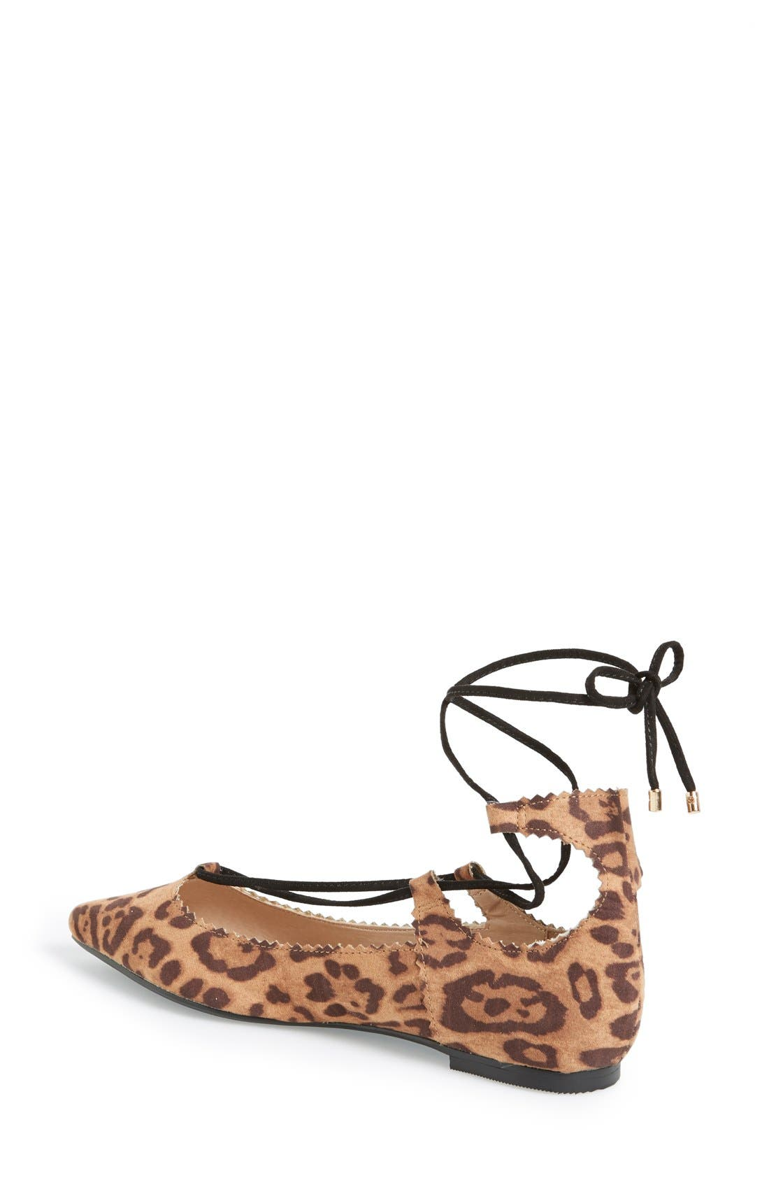 'Finest' Pointy Toe Ghillie Flat,                             Alternate thumbnail 2, color,                             Brown Multi