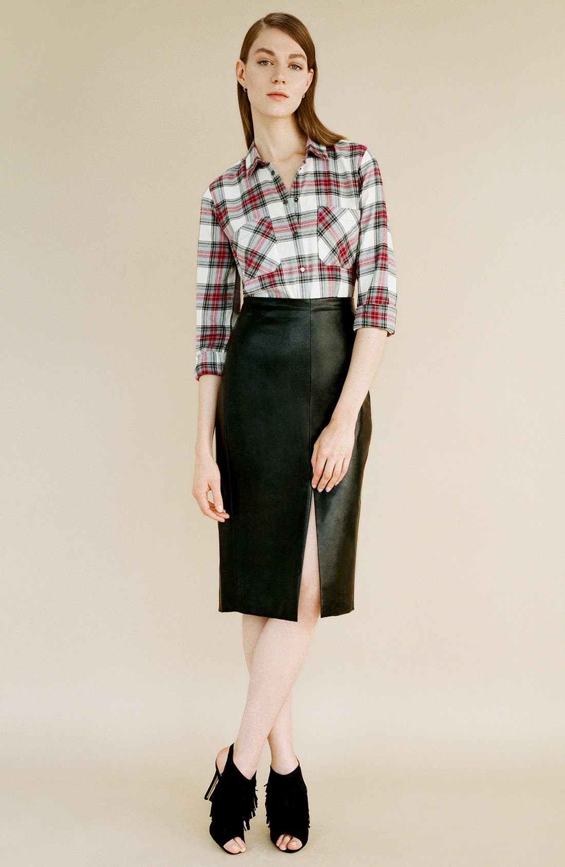 Alternate Image 2  - Topshop 'Chloe' Crop Plaid Shirt